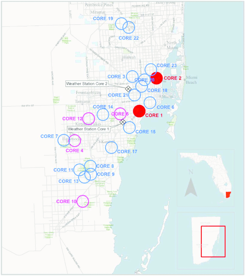 Populations (Cores) Of Giant African Snail Located In Miami-Dade - Giant Florida Map