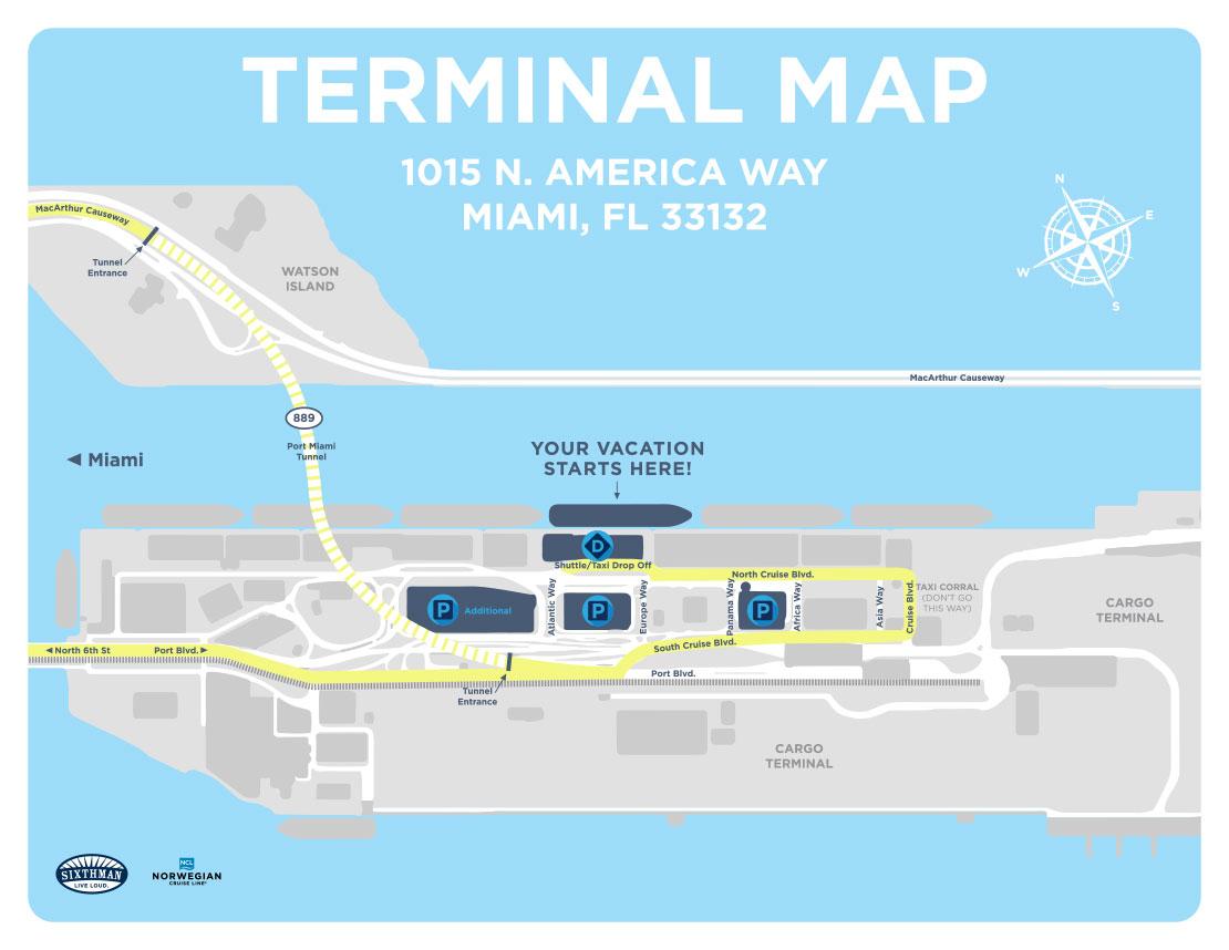 Port Of Miami - Mad Decent Boat Party - Miami Florida Cruise Port Map