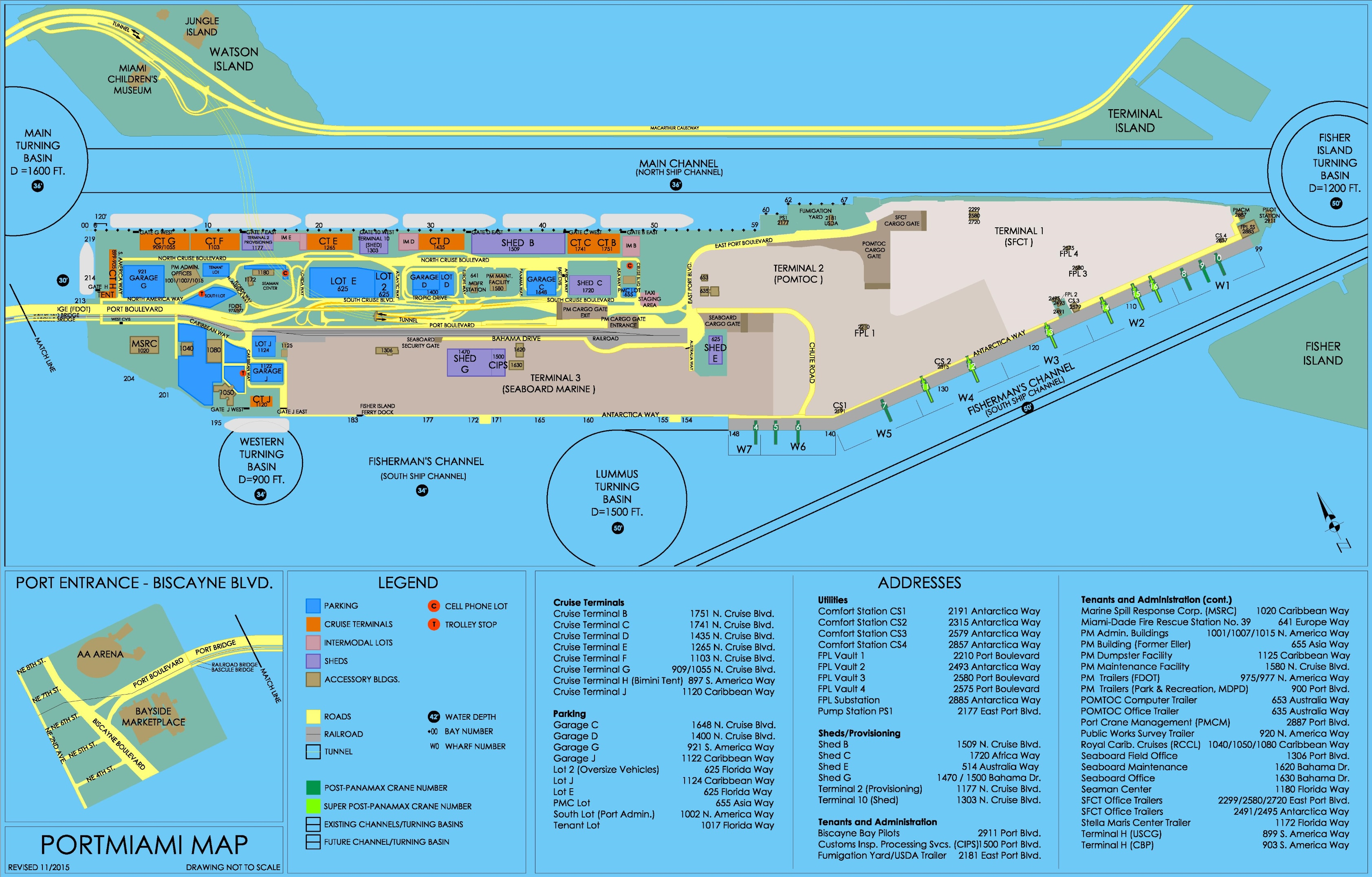 Port Of Miami Map And Travel Information | Download Free Port Of - Map Of Miami Florida Cruise Ship Terminal