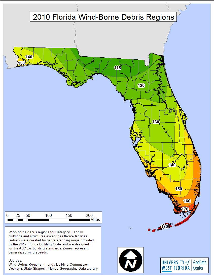 Portfolio | University Of West Florida - Florida Wind Zone Map 2017