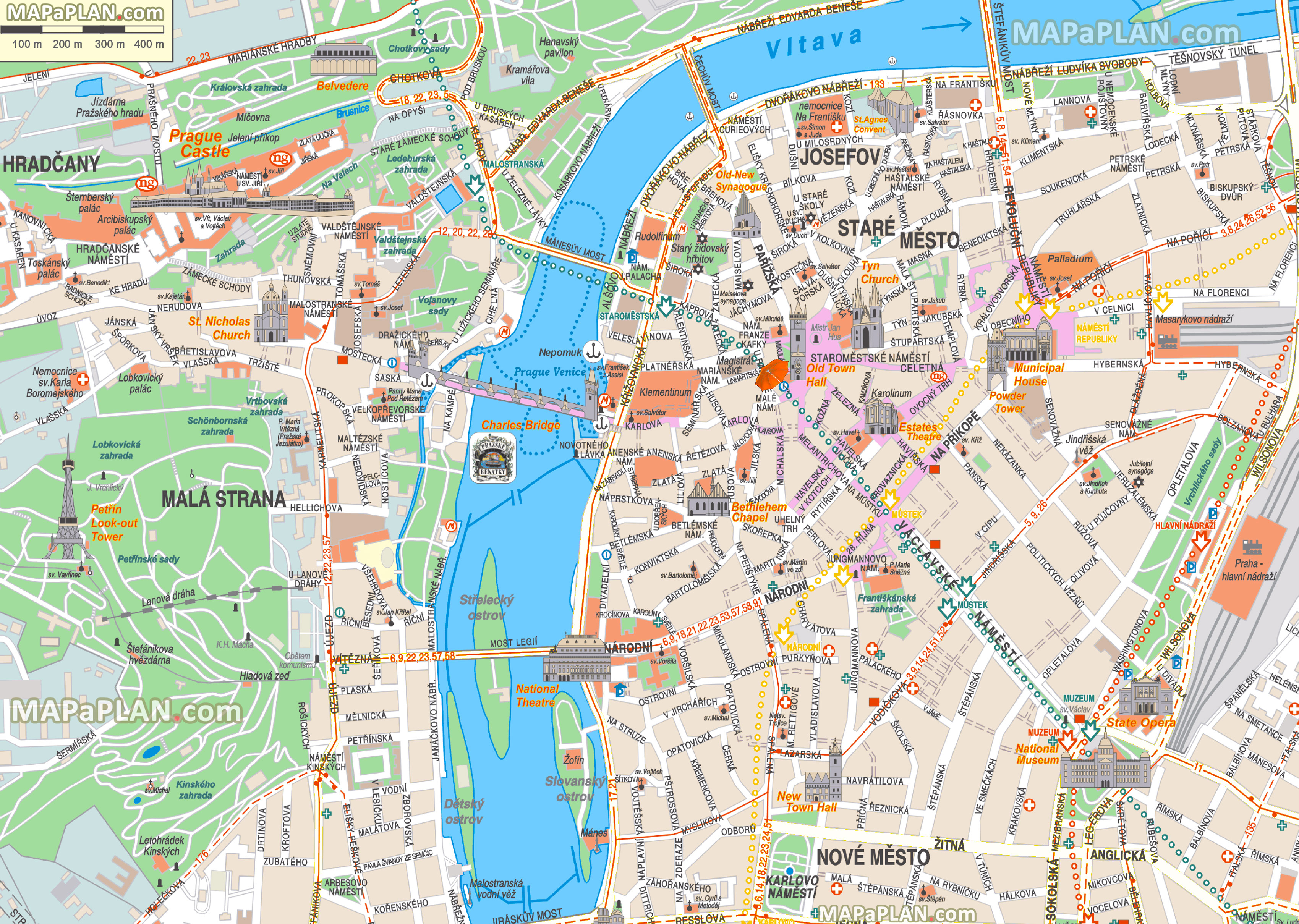 Prague Maps - Top Tourist Attractions - Free, Printable City Street Map - Printable Street Maps