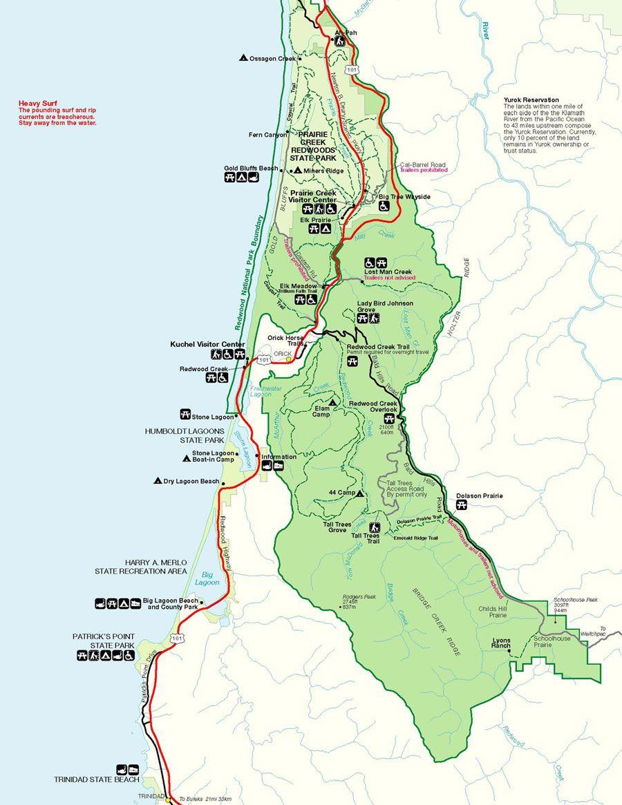 Prairie Creek Redwoods Sp In Redwood National Park , Trinidad - Northern California State Parks Map