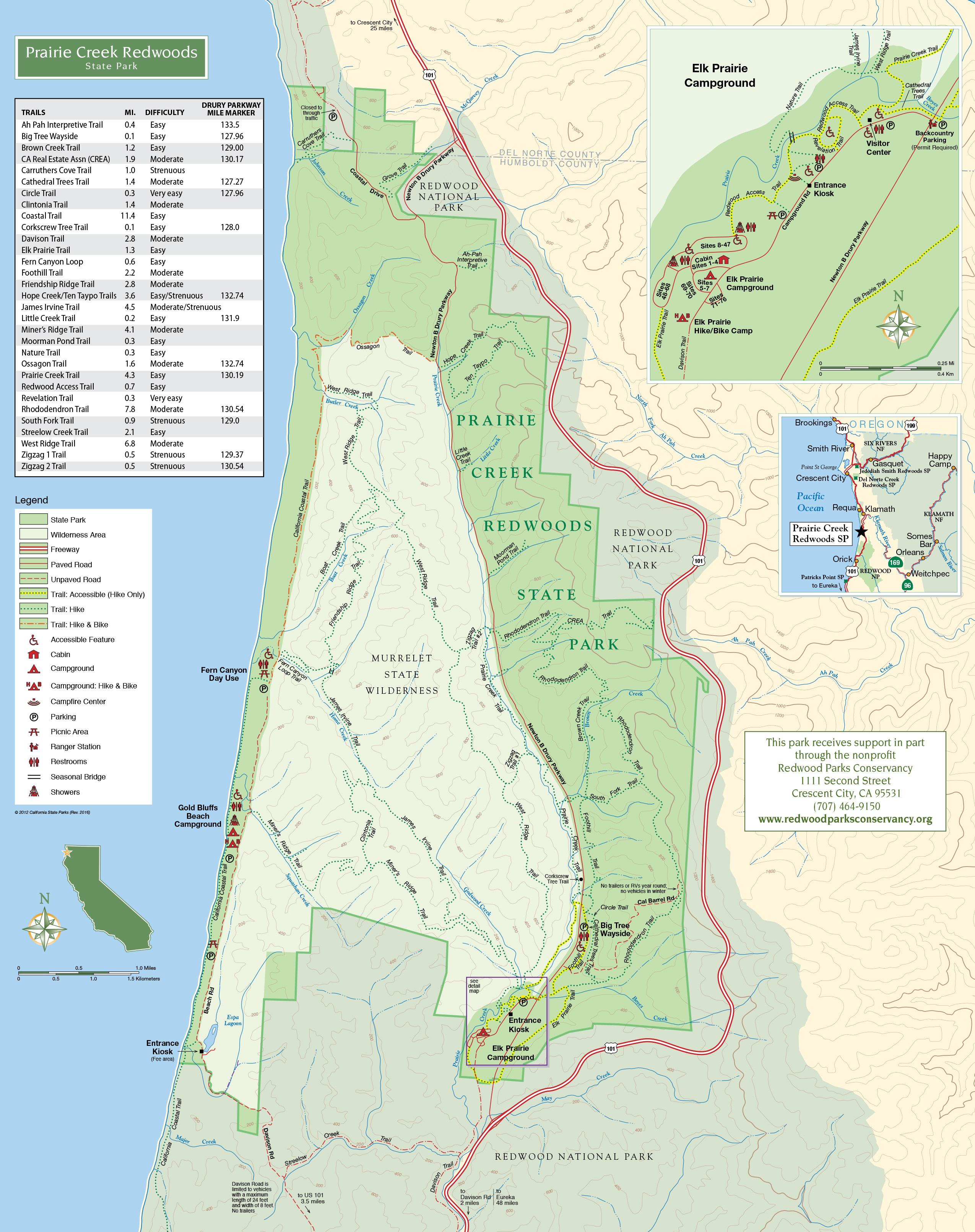 Prairie Creek Trails | Redwood Parks Conservancy - Redwoods Northern California Map