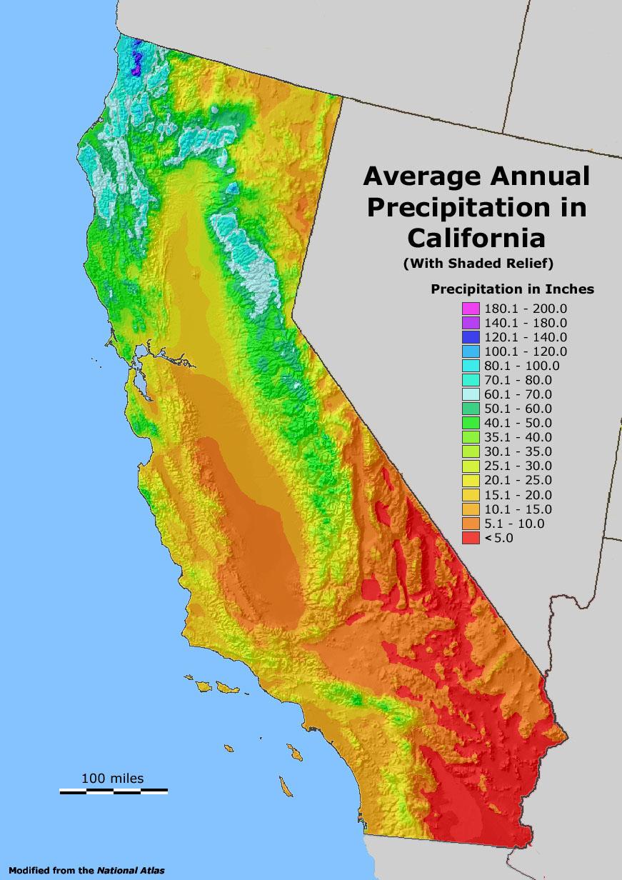 Precipitation Relief California Map With Cities Temperature Map - California Temperature Map Today