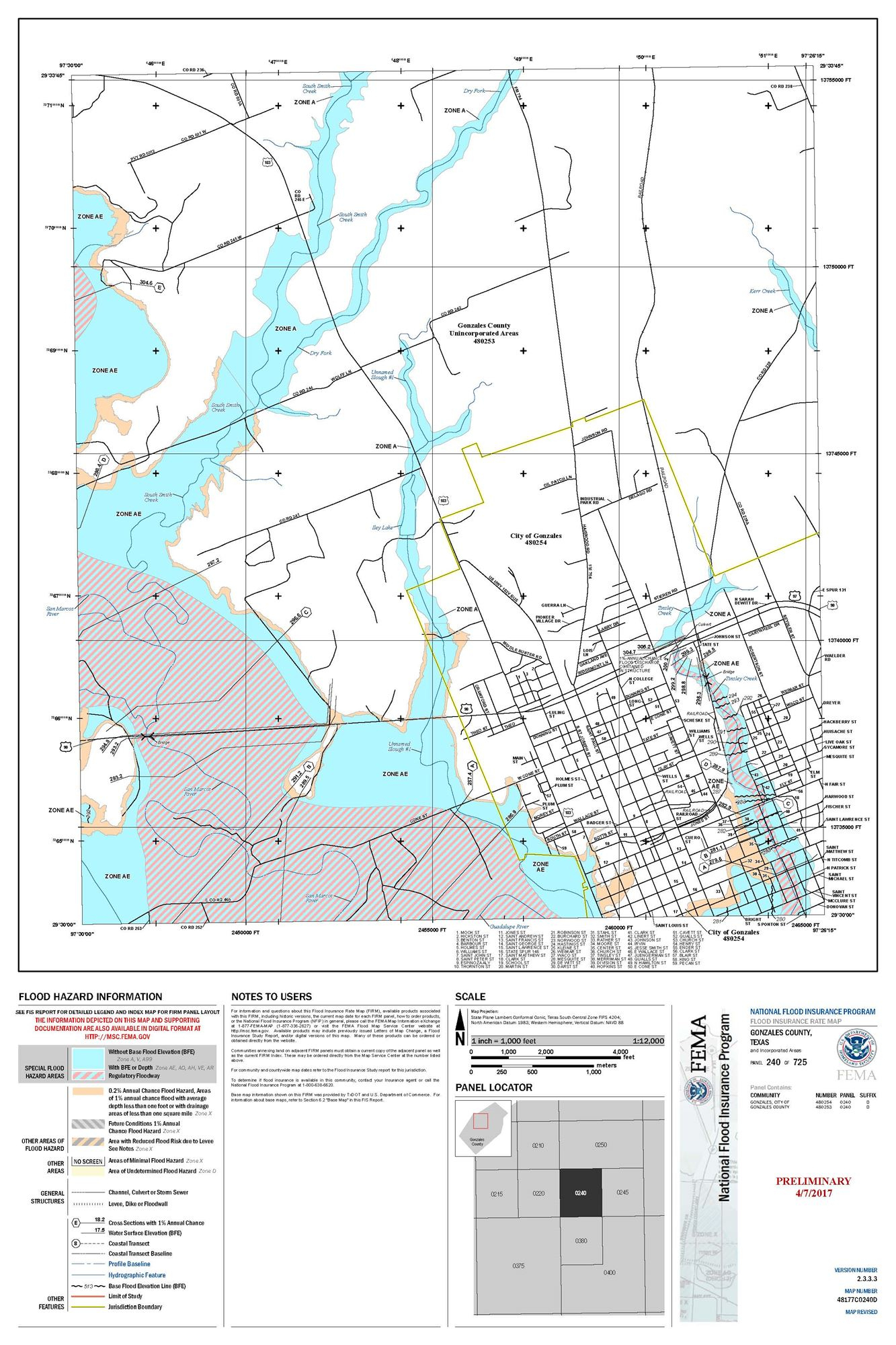 Preliminary Flood Map - Luling Texas Map