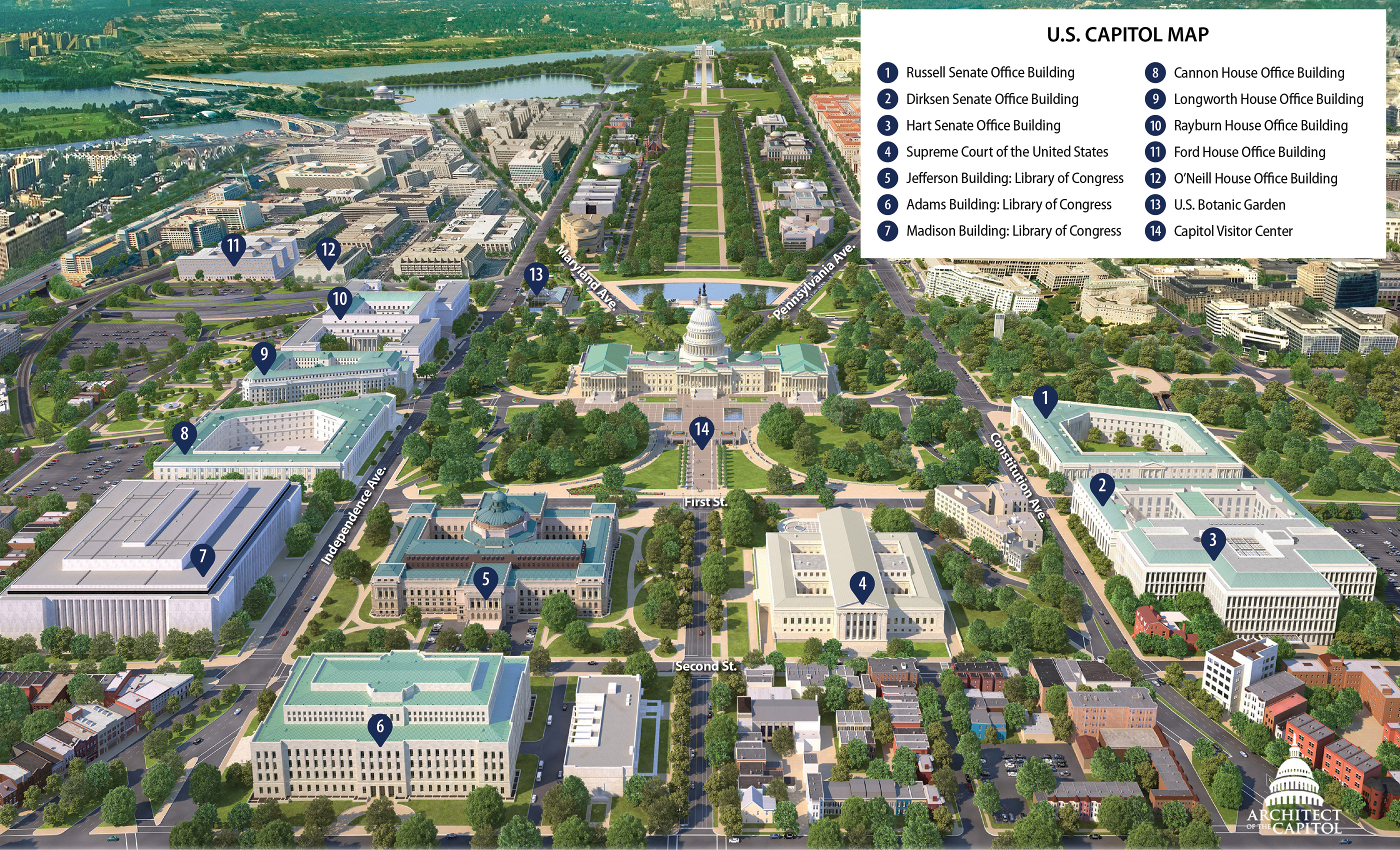 Print-Friendly Map Of Capitol Hill | Architect Of The Capitol - Printable Aerial Maps