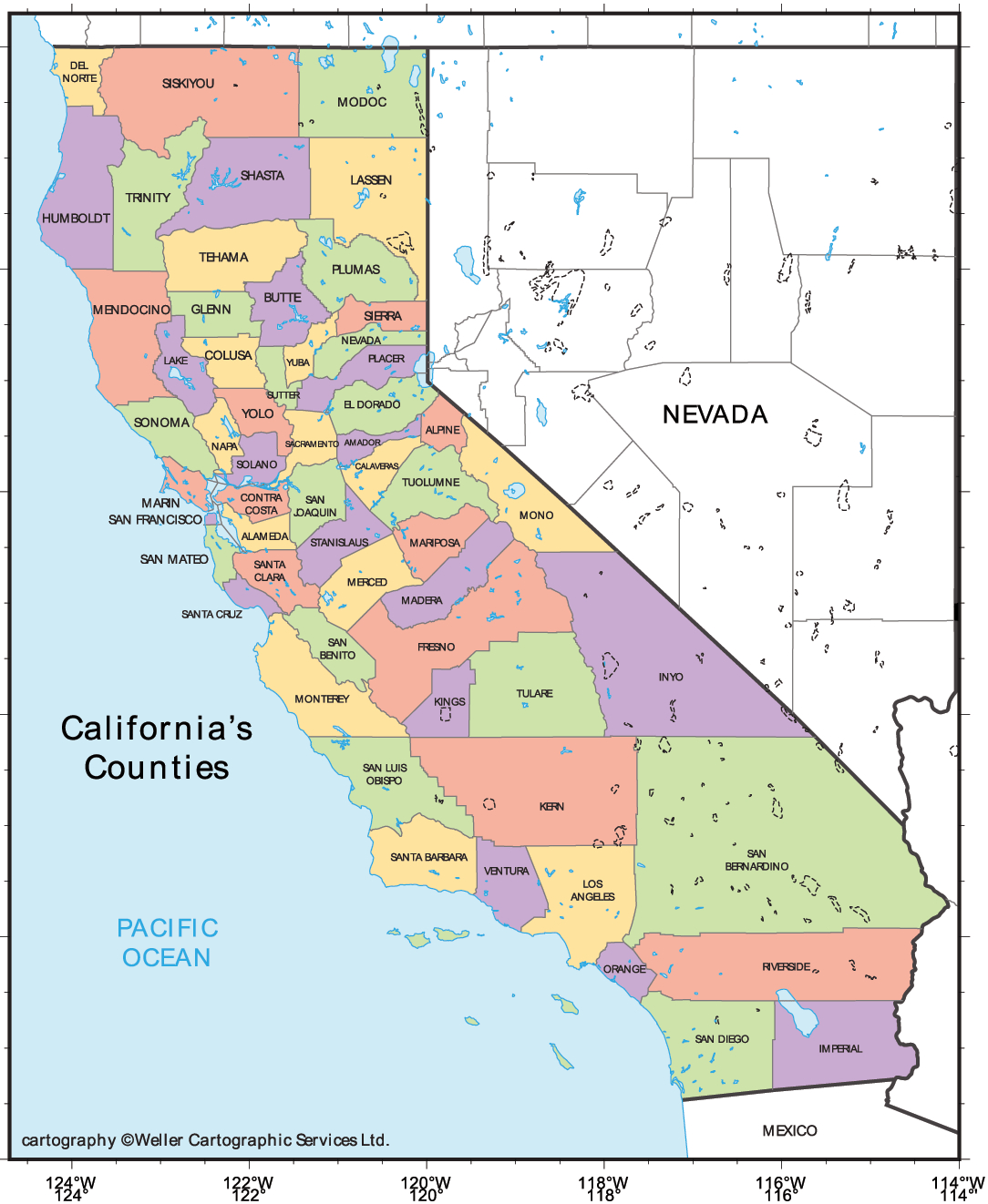 Print Out California | State Coloring Pages Usa Printable Printable - Map Of California Cities