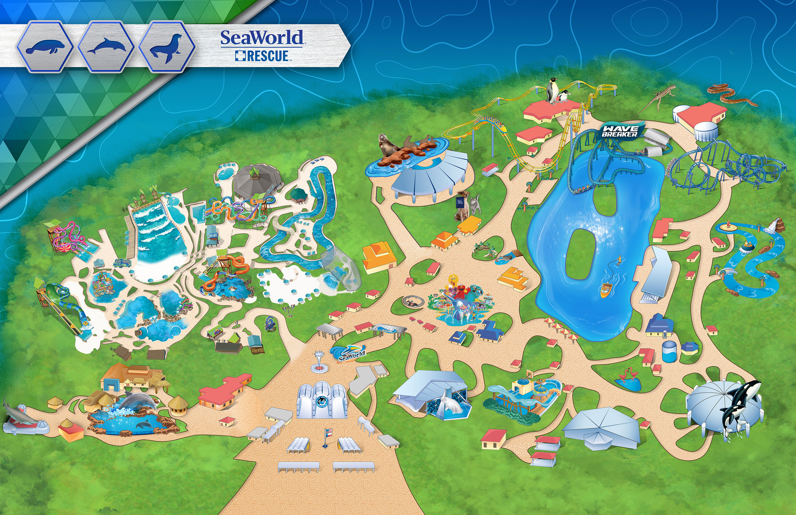 Printable California Adventure Map Detailed Theme Park & Attractions - Printable Sea World Map