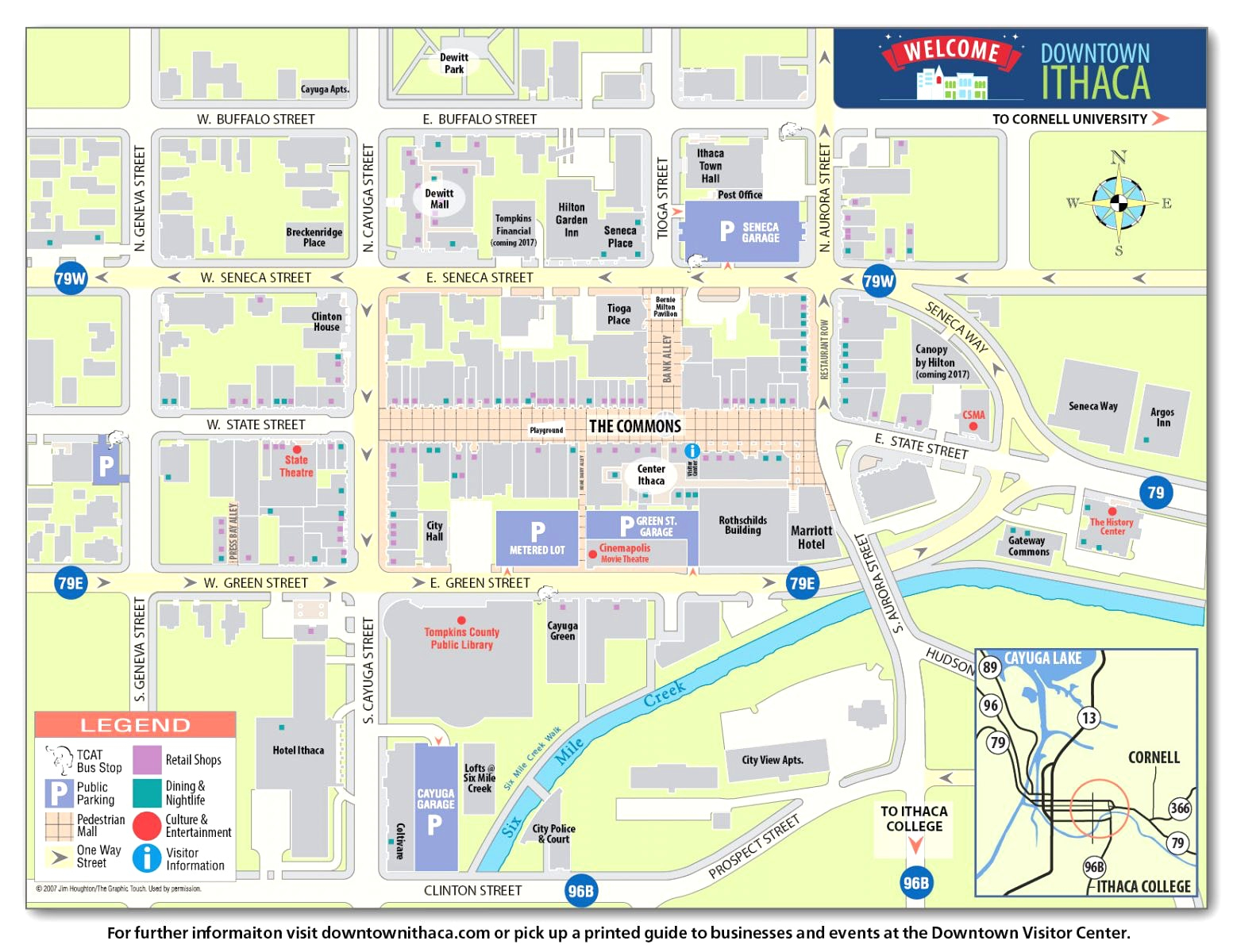 Printable Directions Map Maps Directions Downtown Ithaca Alliance - Printable Map Directions