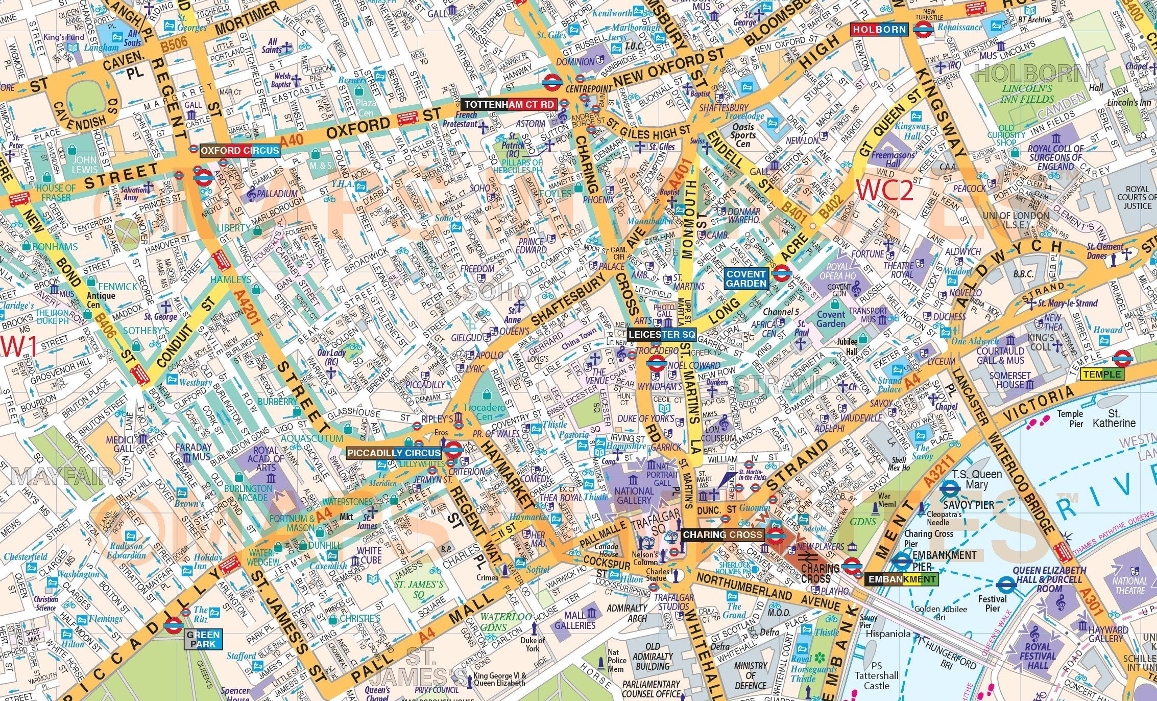 Printable London Street Map Download Of Central Major Tourist 4 - Printable Street Map Of London