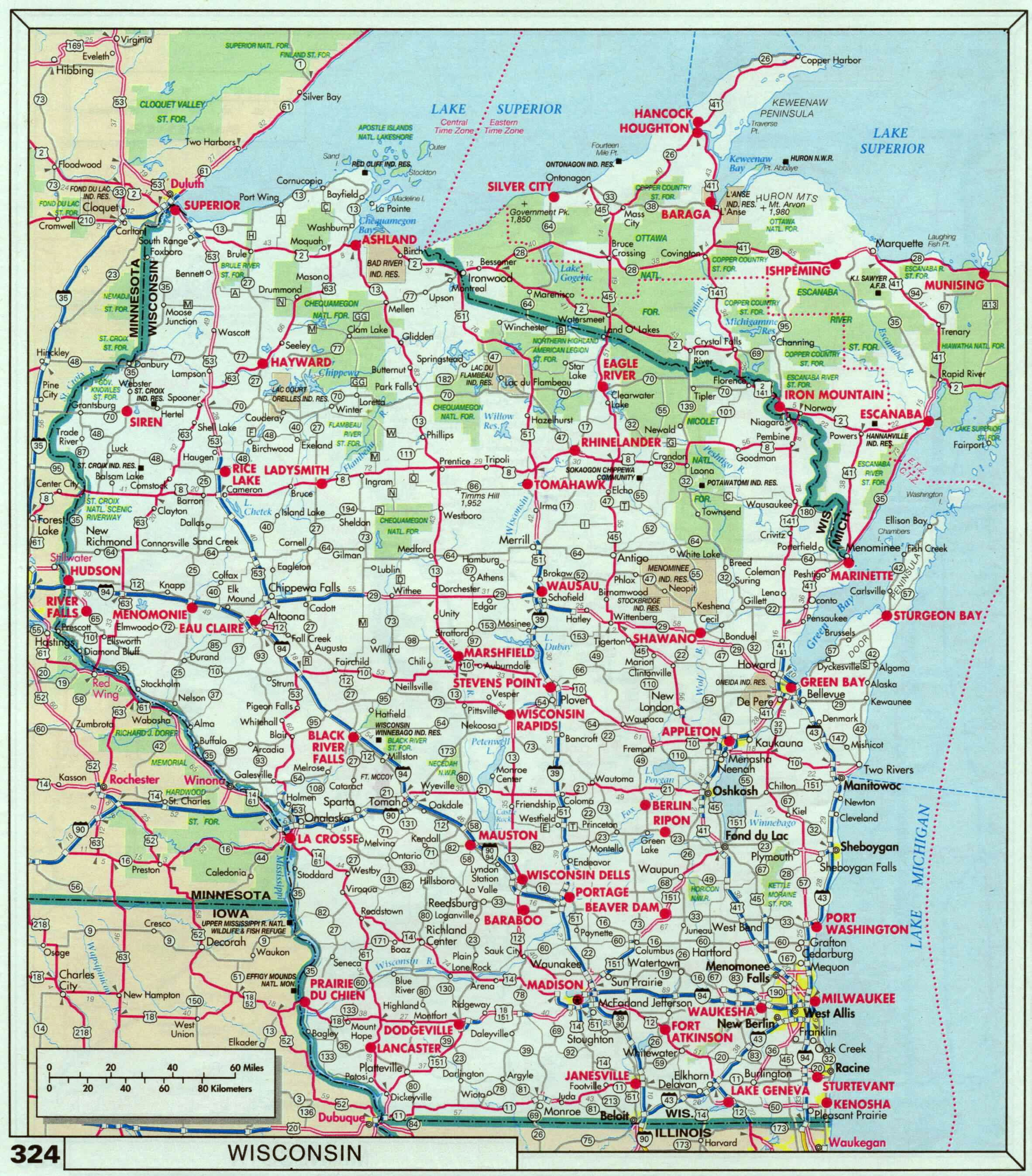 Printable Map Directions Roads And Highways Map Of Wisconsin State - Printable State Maps With Highways