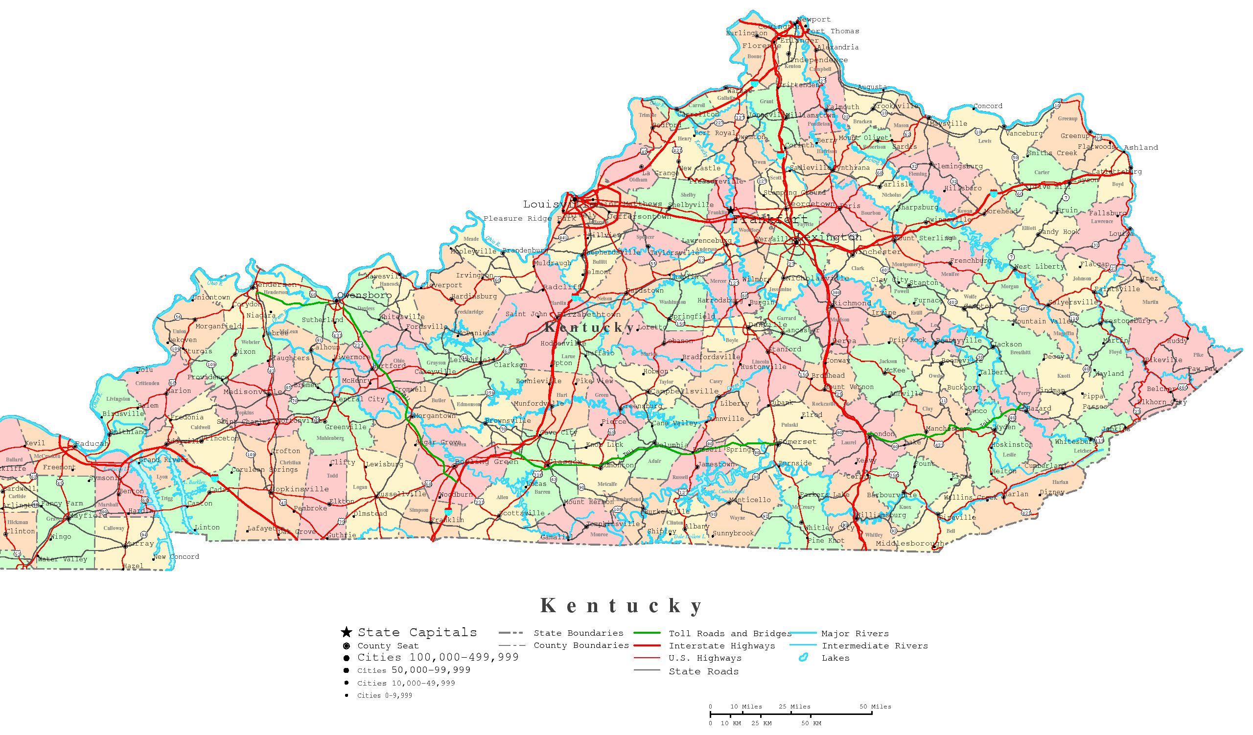 Printable Map Ky - 13.4.ybonlineacess.de • - Printable Maps By Waterproofpaper Com