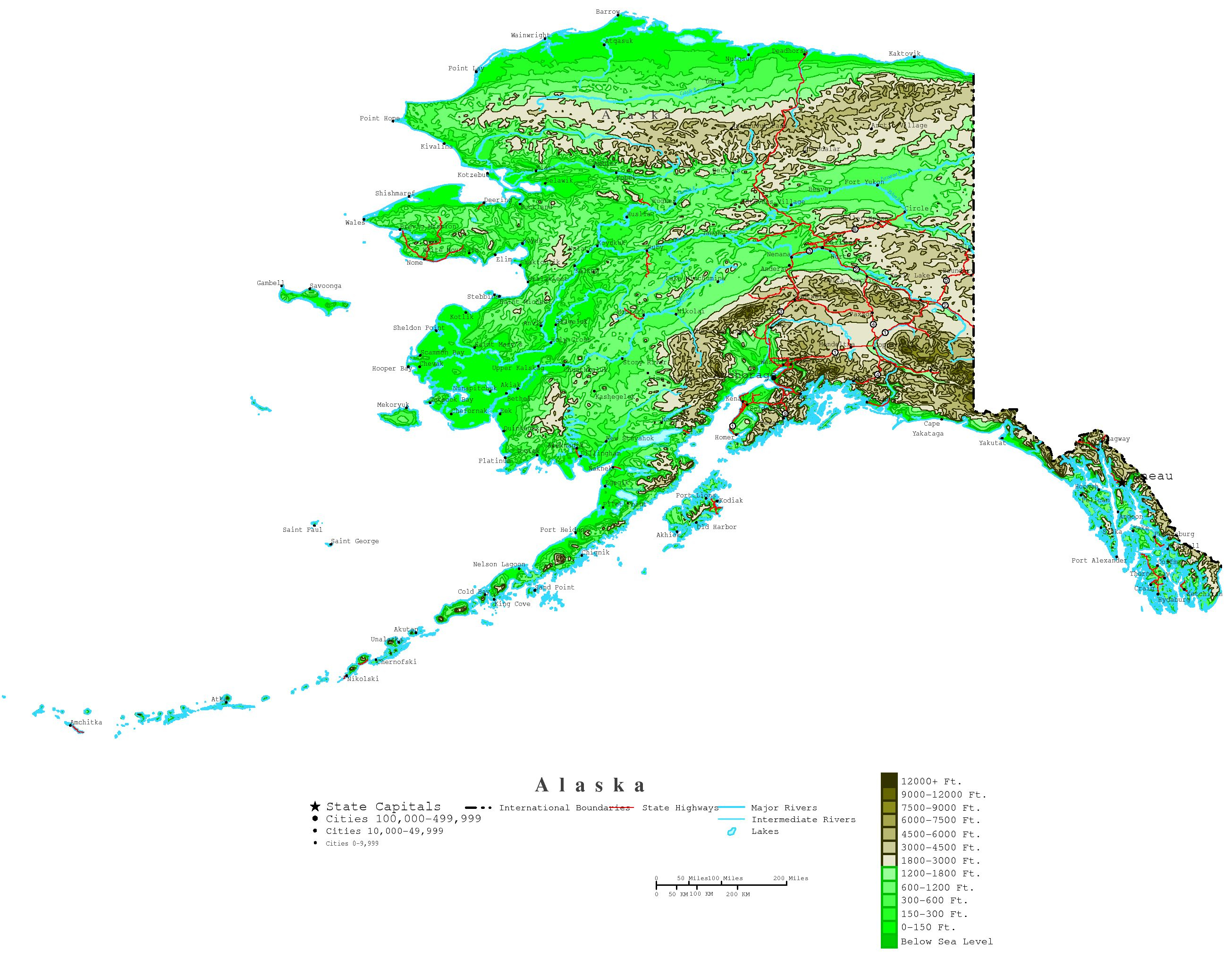 Printable Map Of Alaska And Travel Information | Download Free - Printable Map Of Alaska