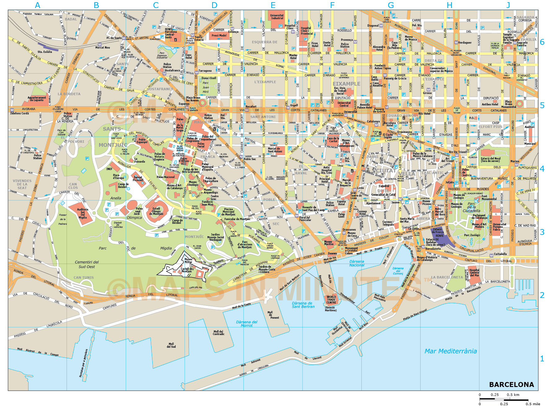 Printable Map Of Barcelona And Travel Information   Download Free - Printable Map Of Barcelona