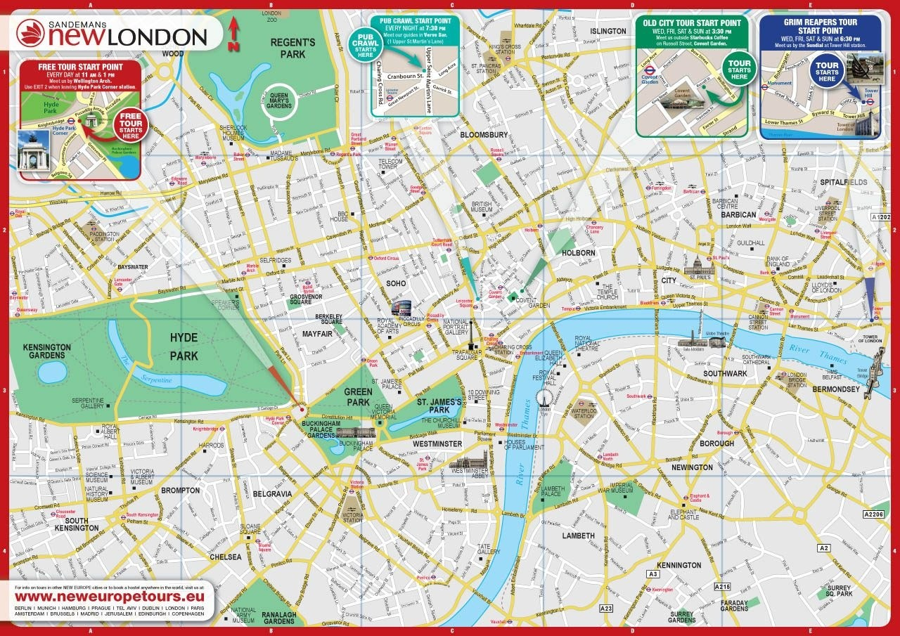 Printable Map Of Central London | Globalsupportinitiative - Printable Map Of London England