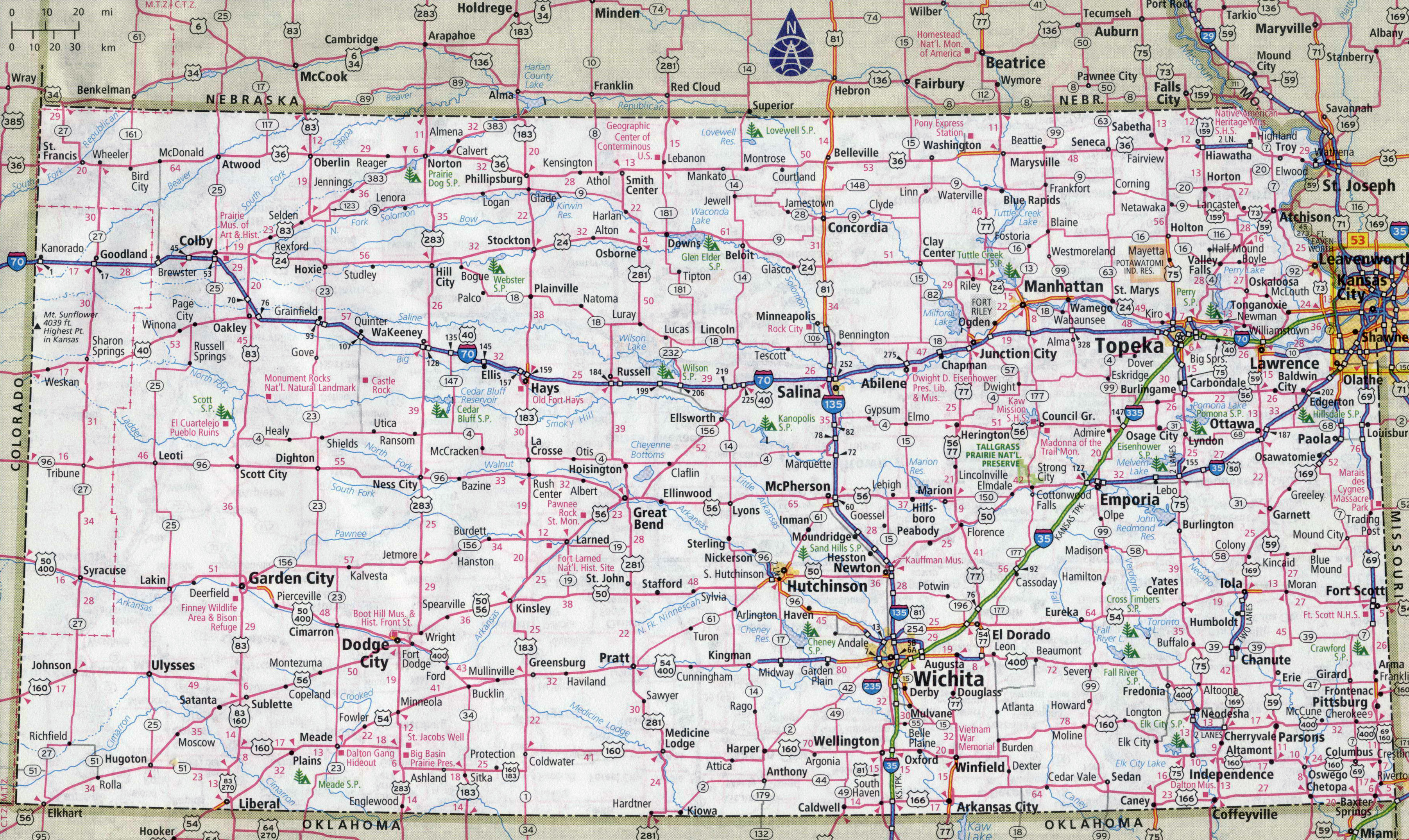 Printable Map Of Kansas And Travel Information | Download Free - Printable Map Of Kansas