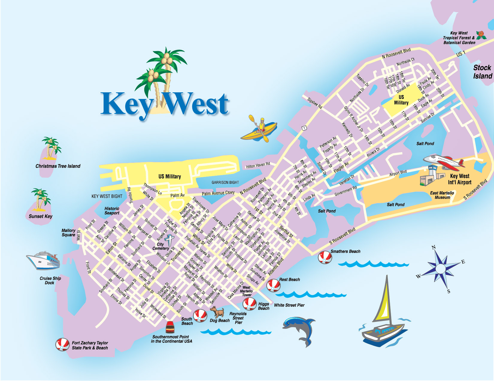 Printable Map Of Key West Florida Streets Hotels Area Attractions Pdf - Map Of Duval Street Key West Florida