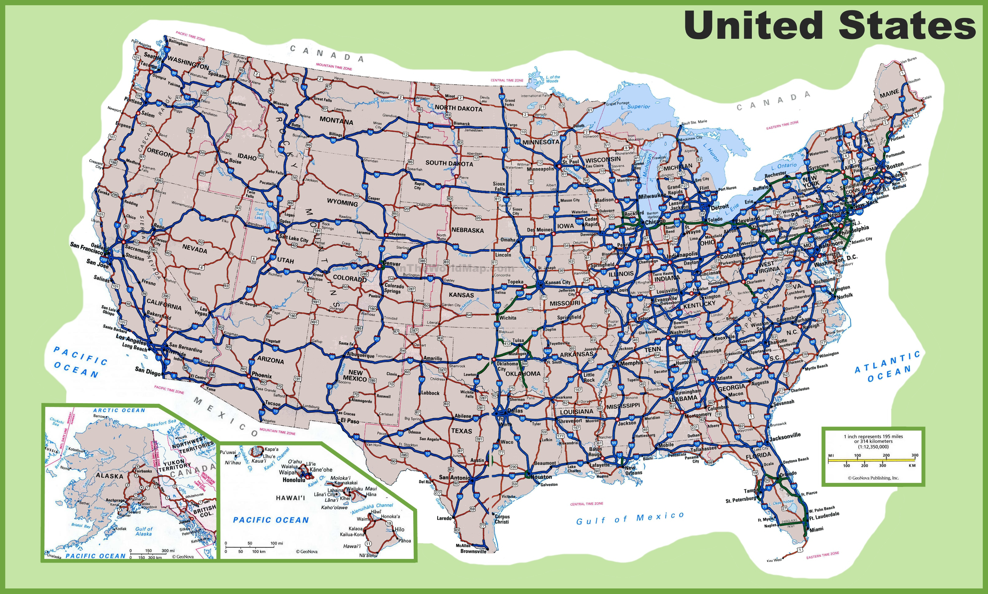 Printable. Map Of Major Interstates In Us: Usa Road Map Usa Of Major - Printable Us Road Map