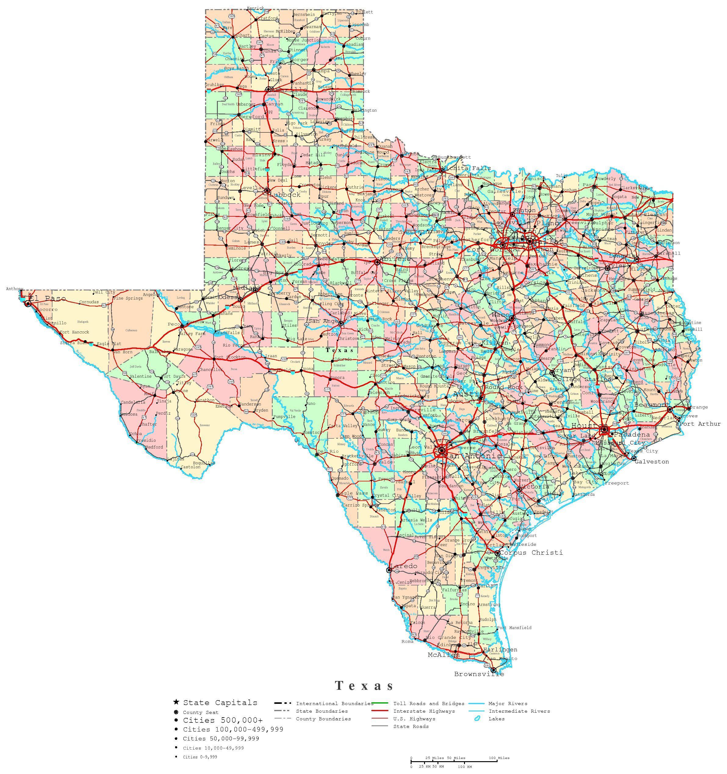 Printable Map Of Texas | Useful Info | Pinterest | Printable Maps - Texas Road Map Free