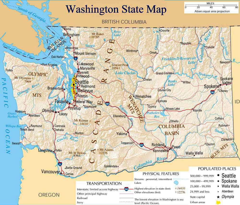 Printable Map Of Washington State And Travel Information   Download - Printable Map Of Washington State