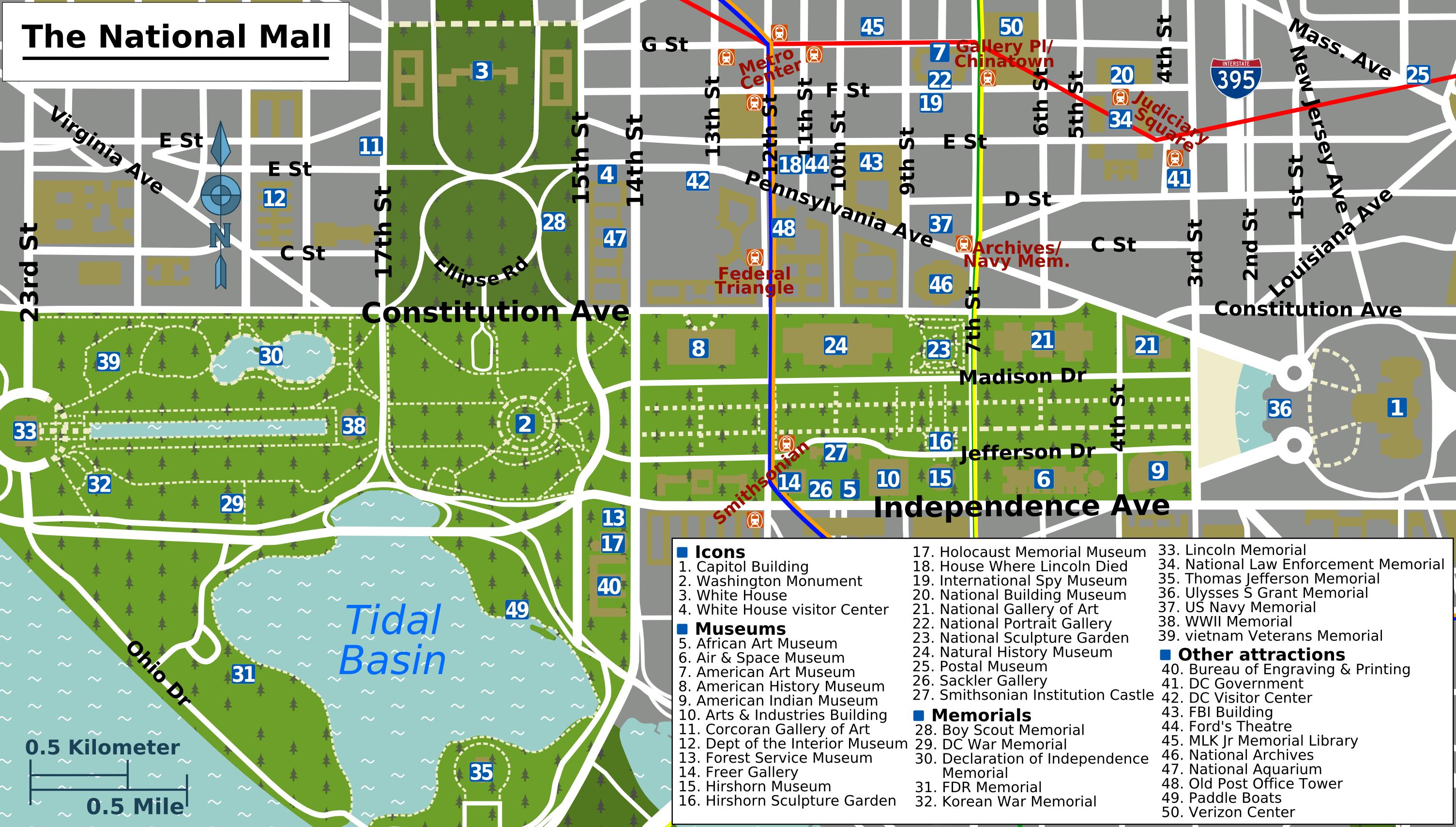 Printable Map Washington Dc | National Mall Map - Washington Dc - National Mall Map Printable