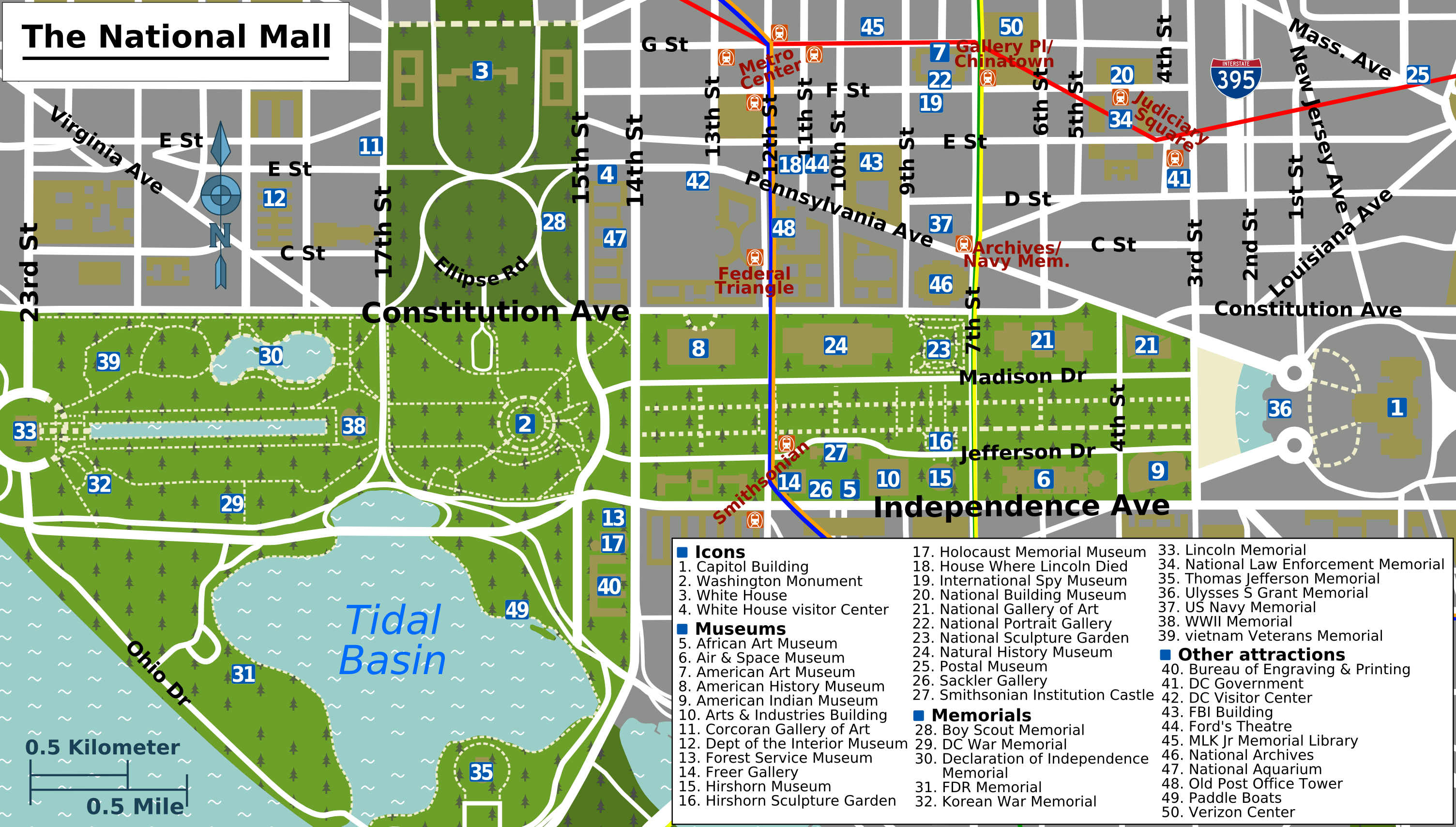 Printable Map Washington Dc | National Mall Map - Washington Dc - Printable Metro Map Of Washington Dc