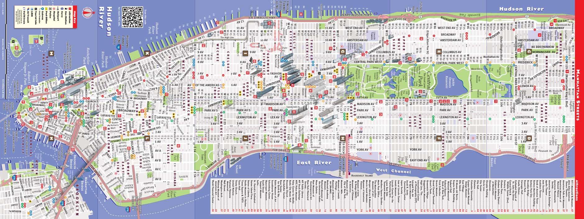 Printable New York Street Map   Travel Maps And Major Tourist - Printable New York Street Map