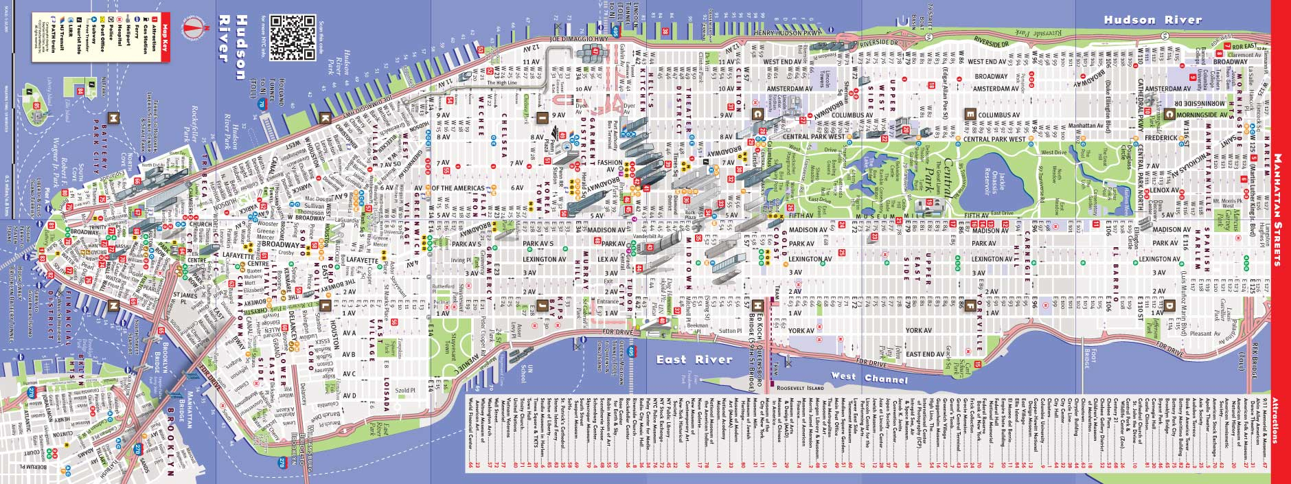 Printable New York Street Map | Travel Maps And Major Tourist - Printable Street Map Of Manhattan Nyc