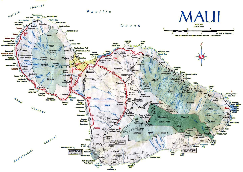 Printable Road Map Maui - Maui Road Map Printable