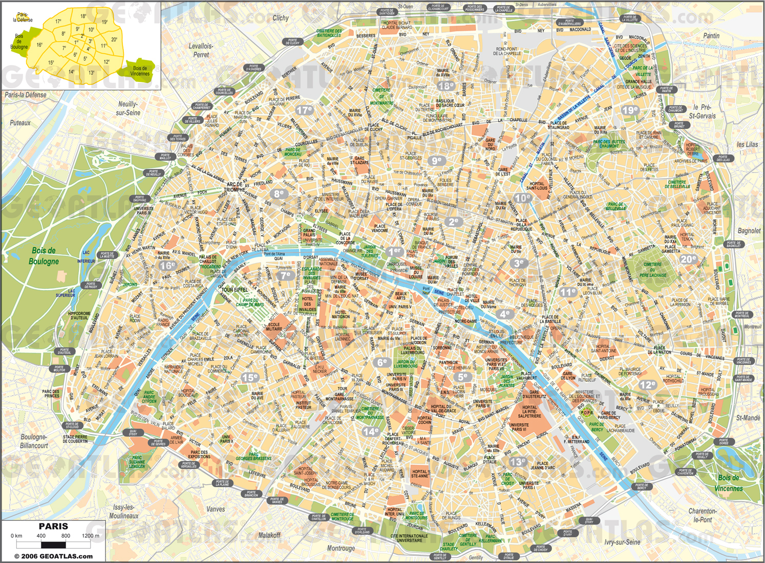 Printable Street Map Of Paris Printable Street Map Paris   Travel - Paris Street Map Printable