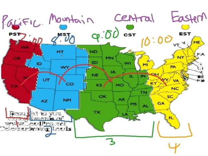 Printable Time Zone Map Usa With States