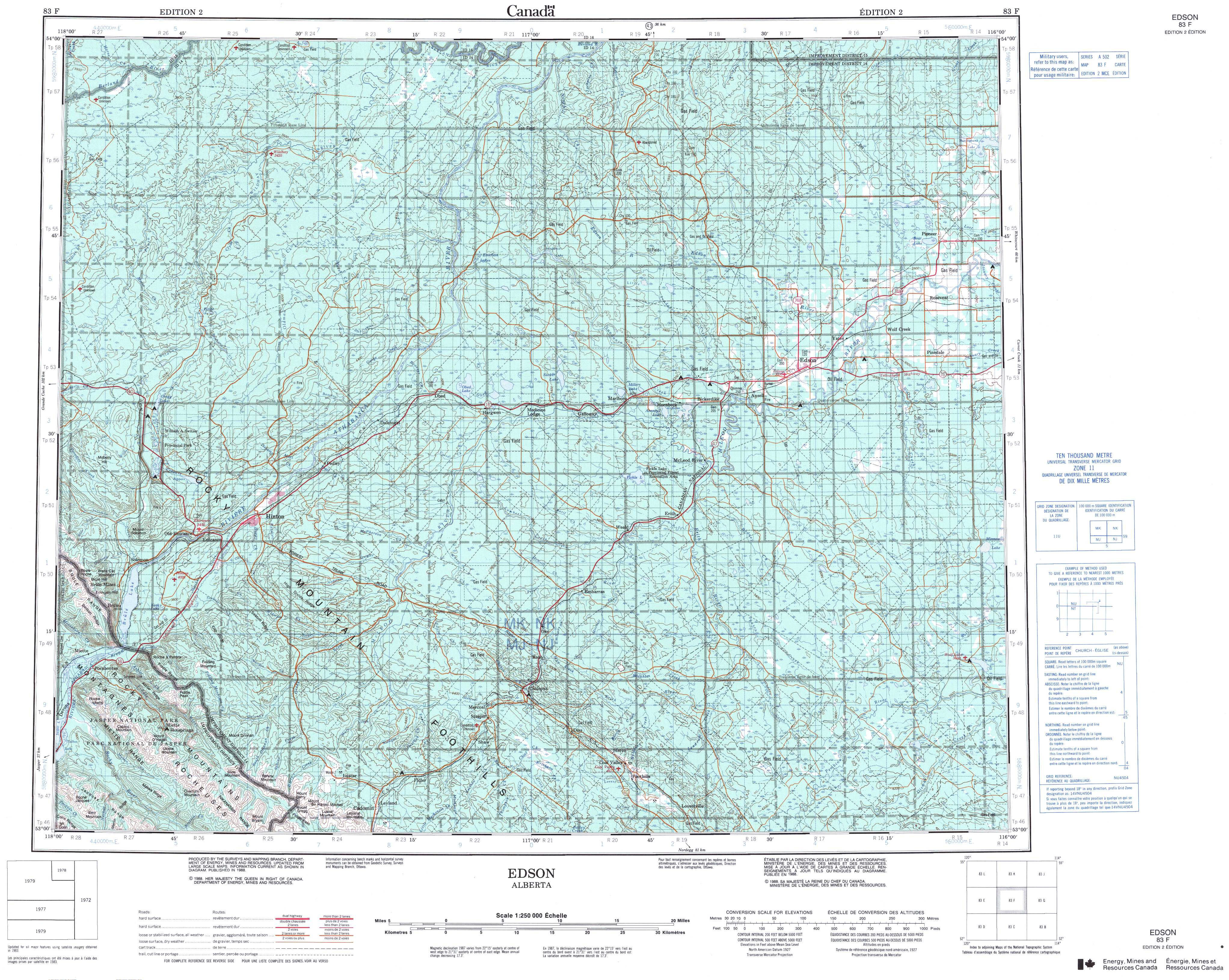 Printable Topographic Map Of Edson 083F, Ab - Printable Topo Maps Online