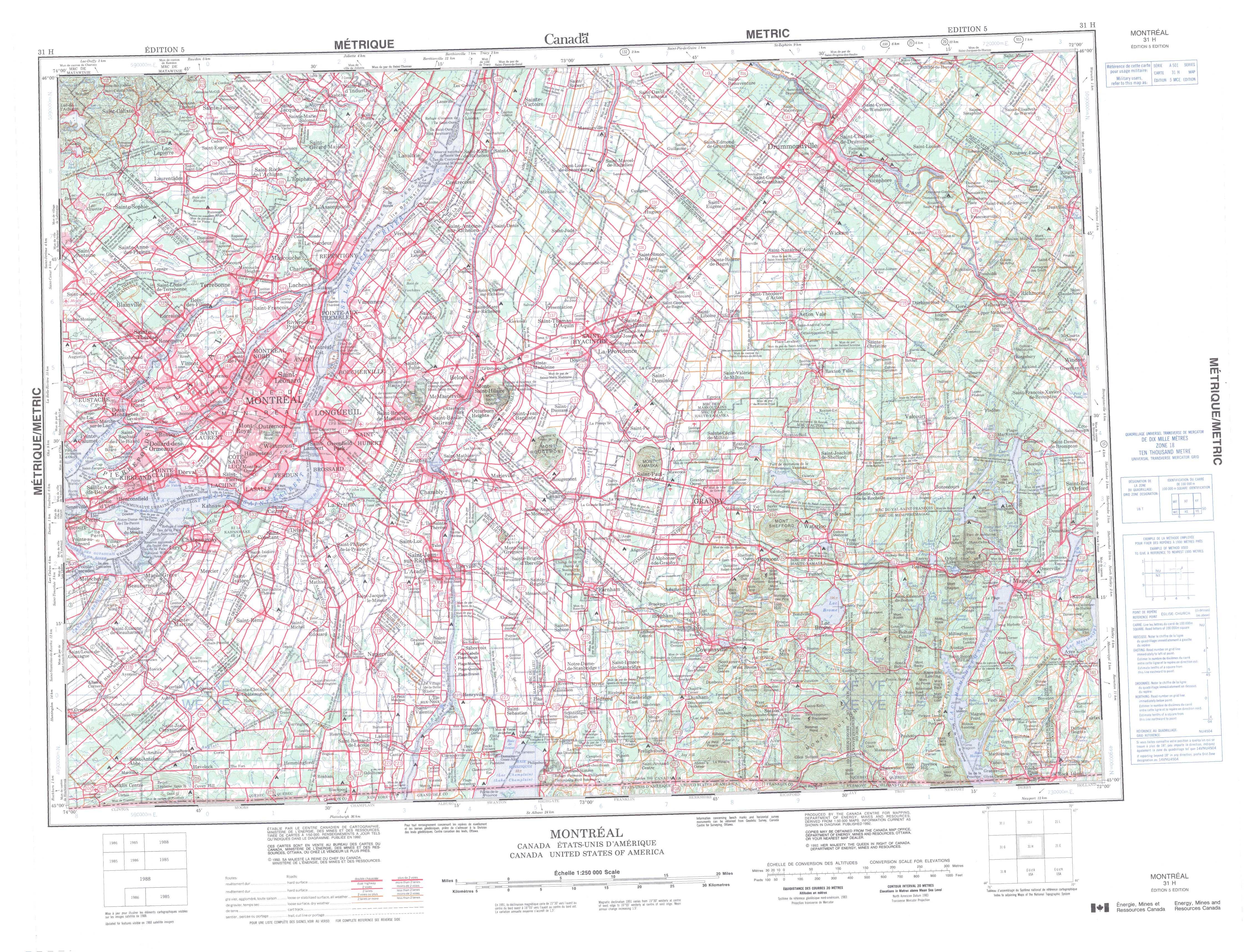 Printable Topographic Map Of Montreal 031H, Qc - Printable Topo Maps