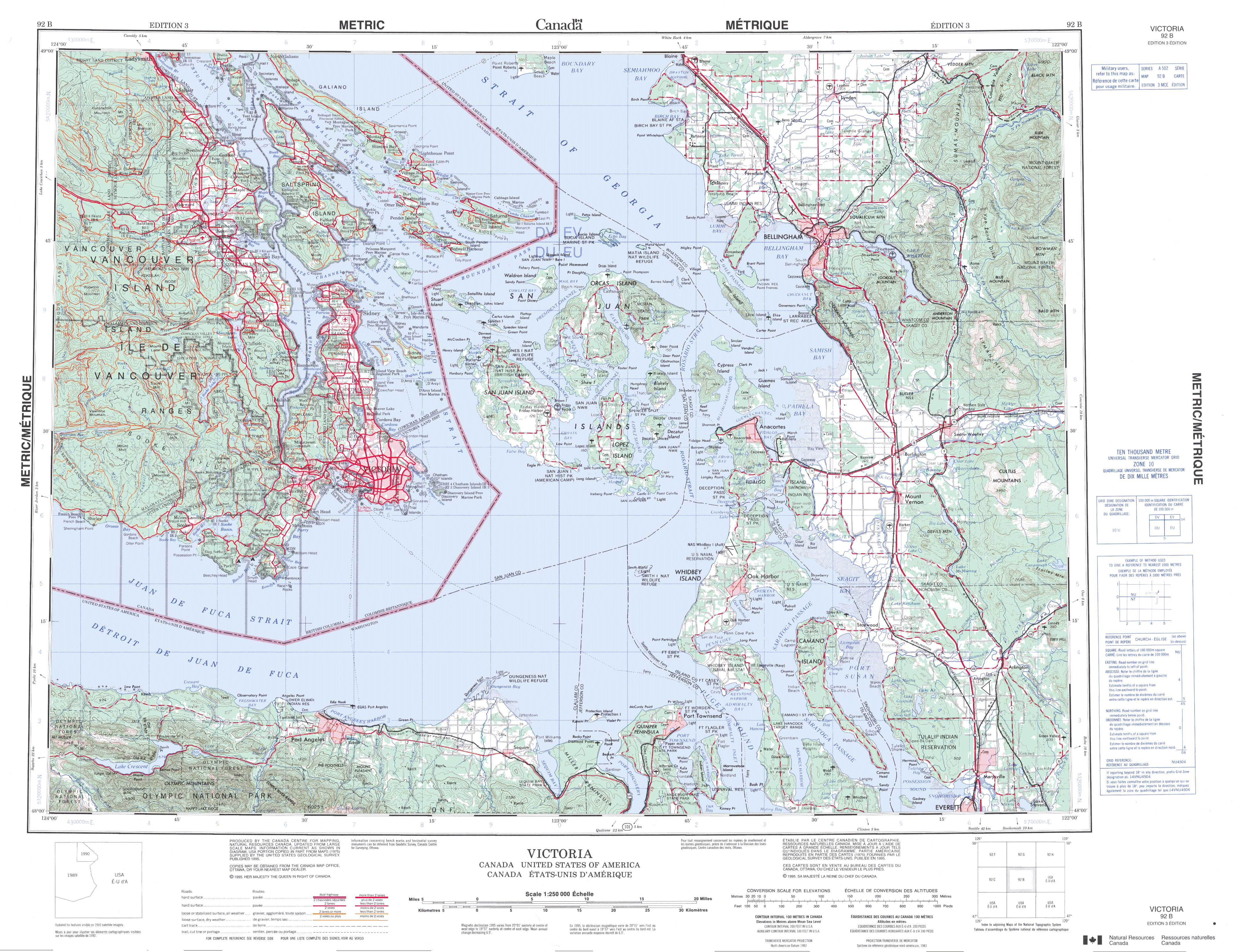 Printable Topographic Map Of Victoria 092B, Bc - Free Printable Topo Maps Online