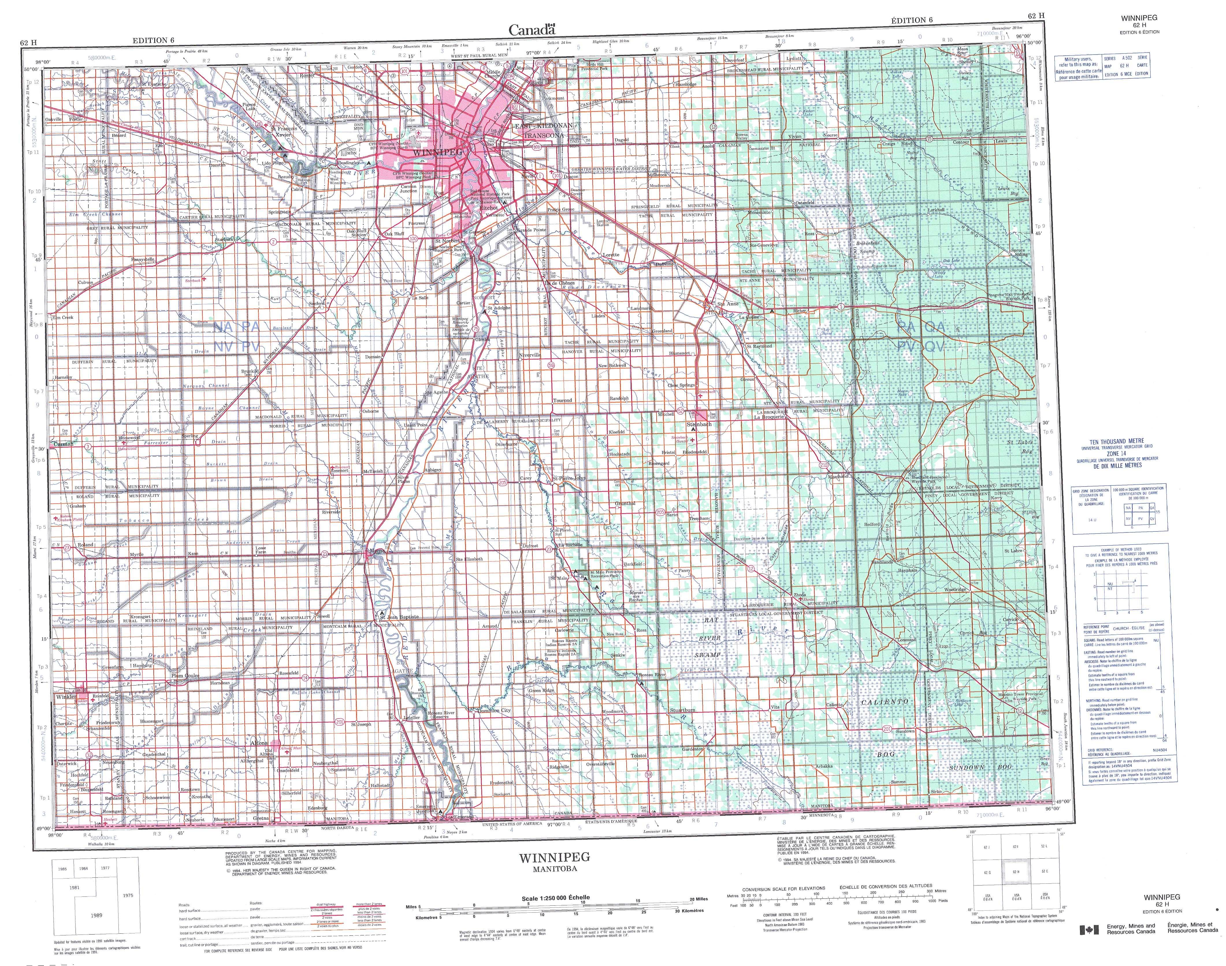 Printable Topographic Map Of Winnipeg 062H, Mb - Printable Topo Maps