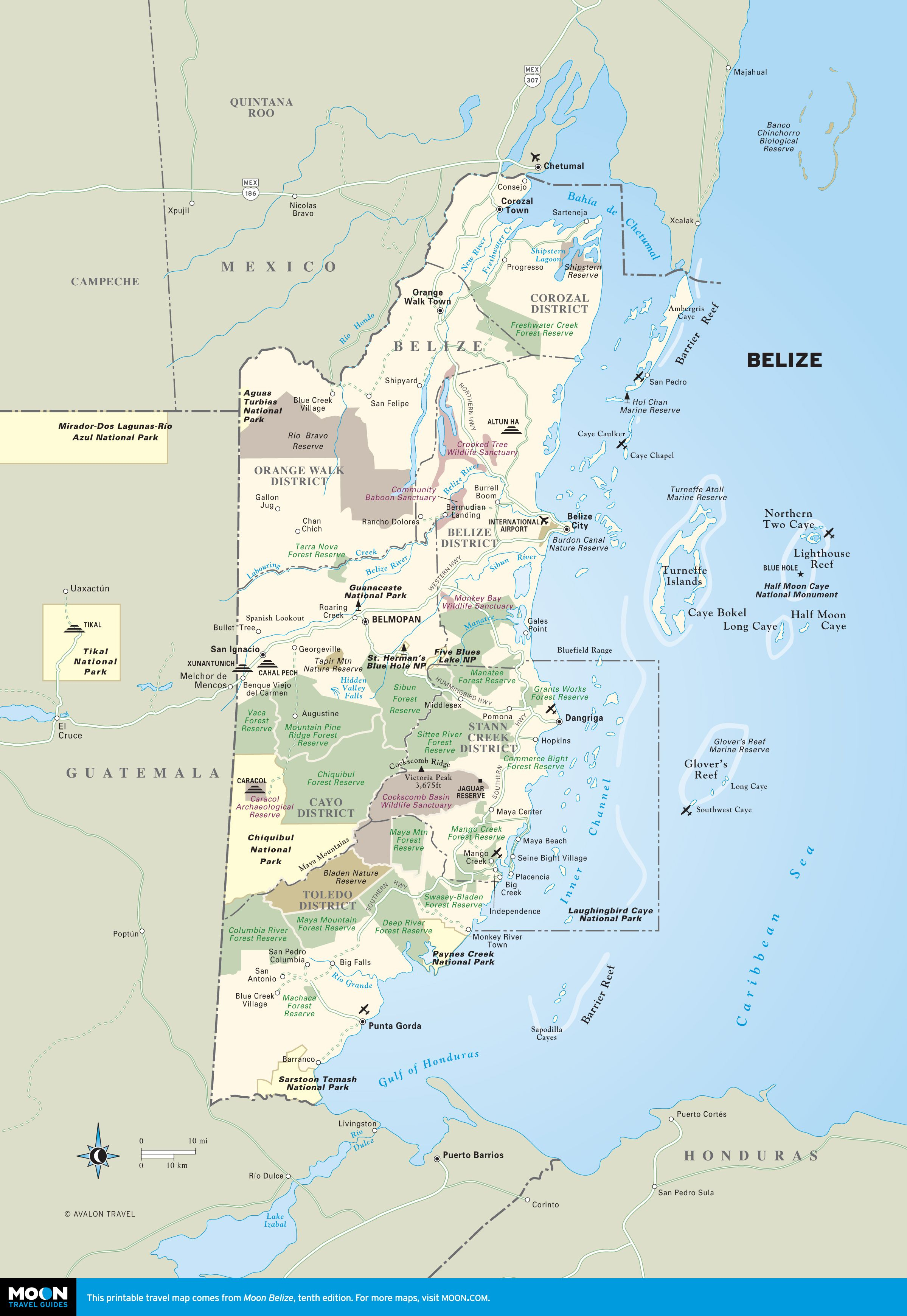 Printable Travel Maps Of Belize | Getting Ready For Retirement | Map - Free Printable Travel Maps