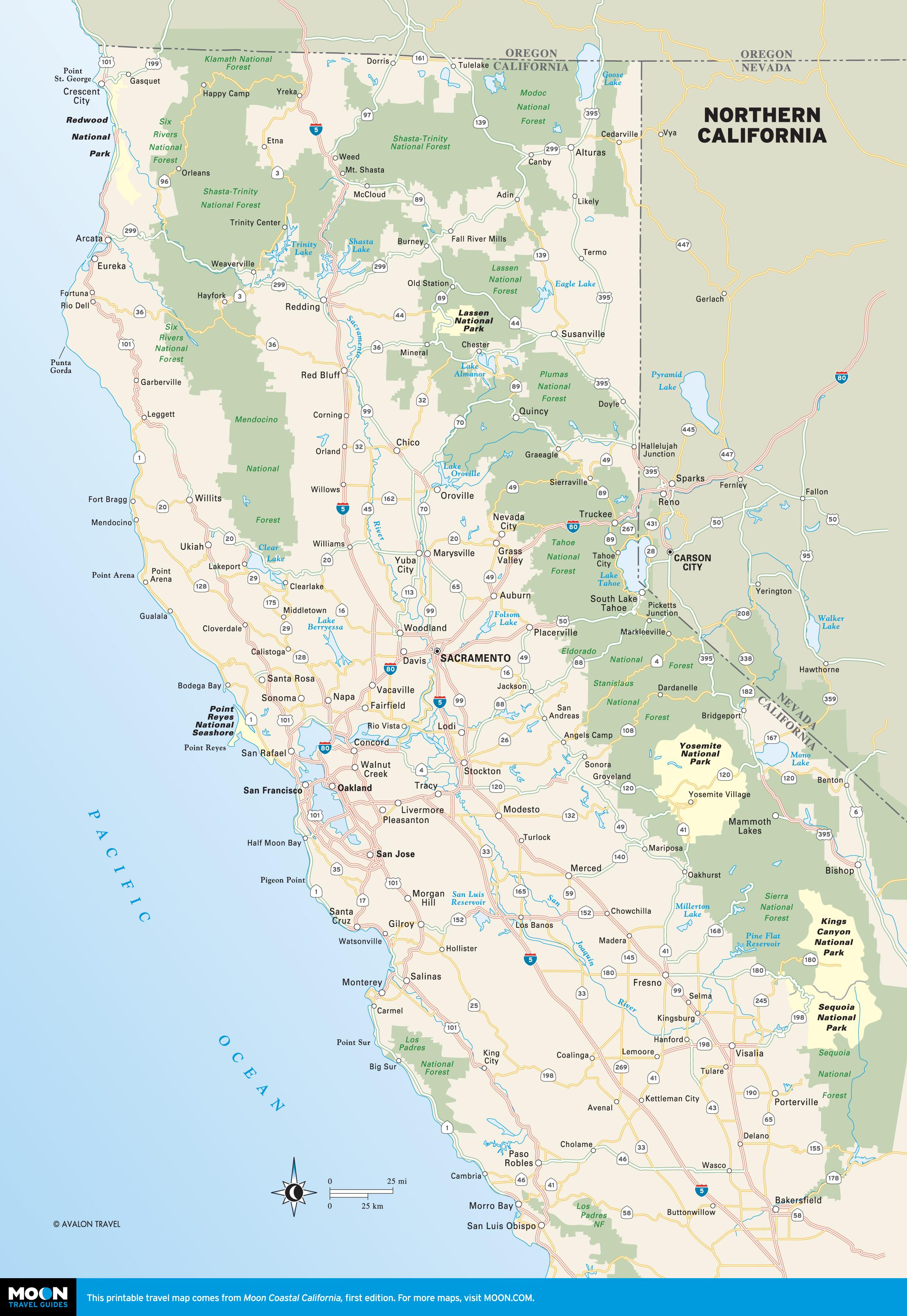 Printable Travel Maps Of California Moon Guides At Map Coast - Touran - Printable Road Trip Maps
