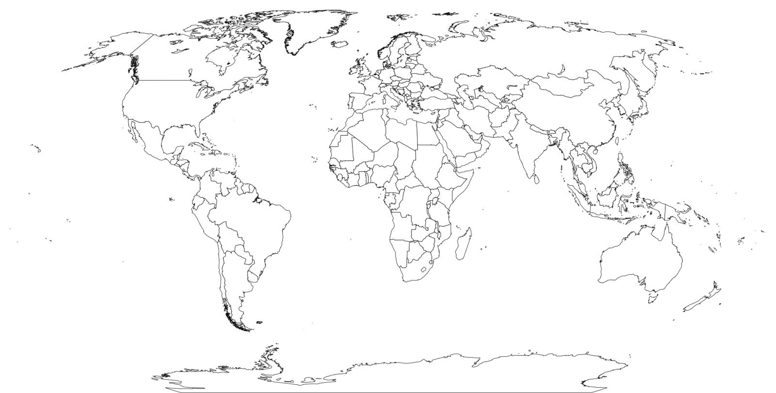 Printable World Map Black And White ~ Afp Cv - World Map Black And White Printable