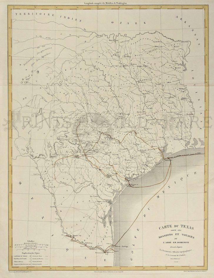 Vintage Texas Map Framed