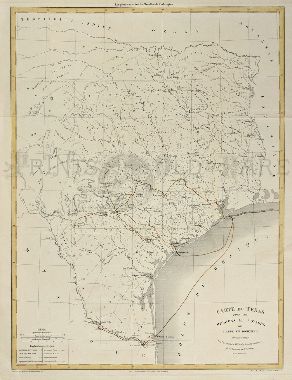 Prints Old & Rare - Texas - Antique Maps & Prints - Vintage Texas Map Framed