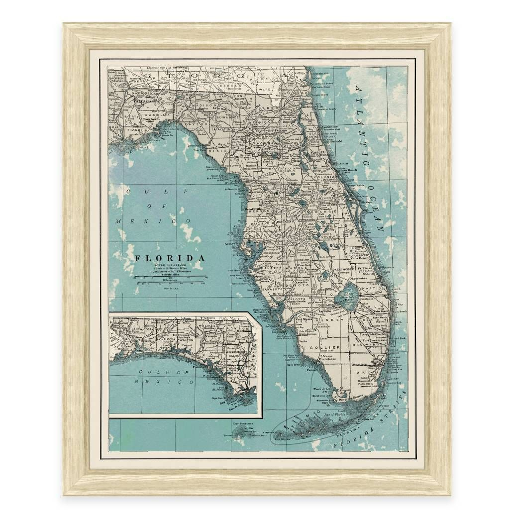 Product Image For Framed Map Of Florida Wall Décor | Office Ideas - Framed Map Of Florida