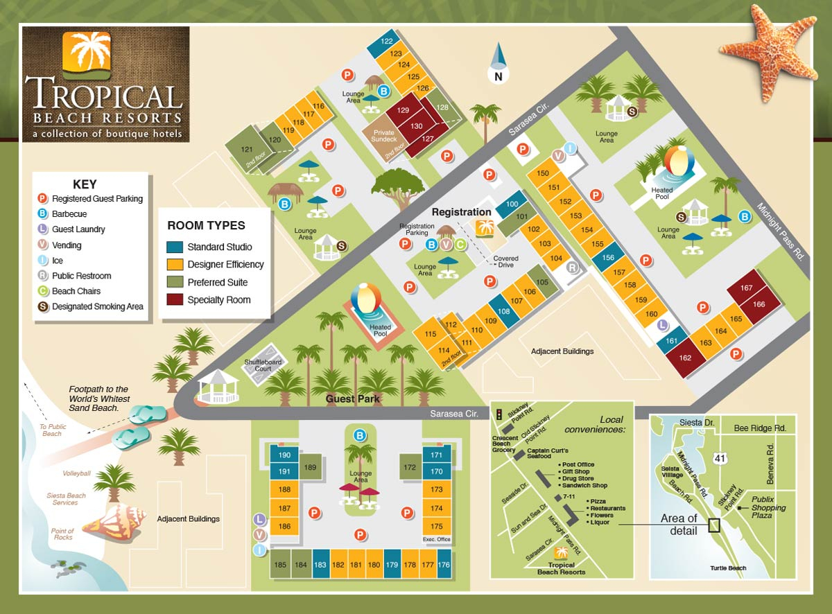 Property Map - Tropical Beach Resorts, Siesta Key Fl - Map Of Florida Keys Hotels