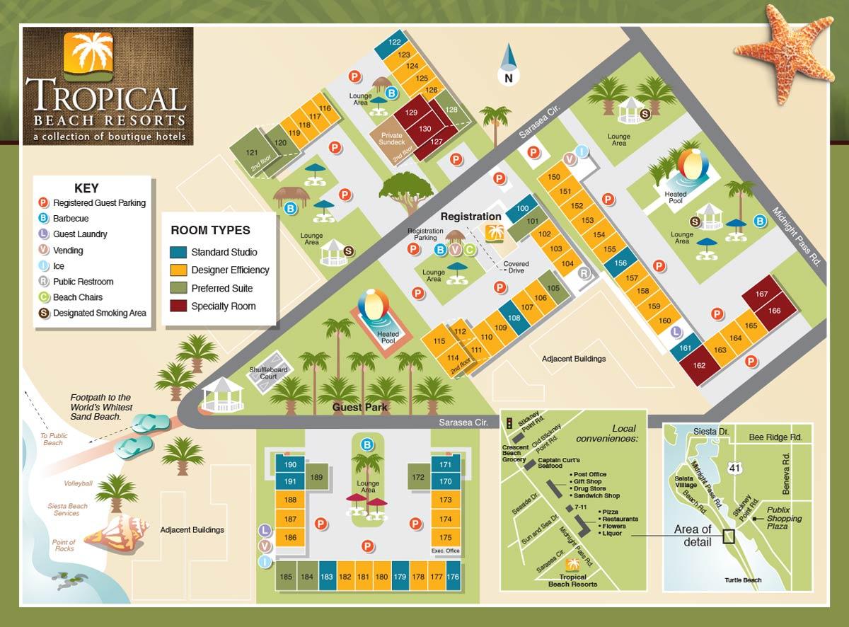 Property Map - Tropical Beach Resorts, Siesta Key Fl - Map Of Florida Keys Resorts