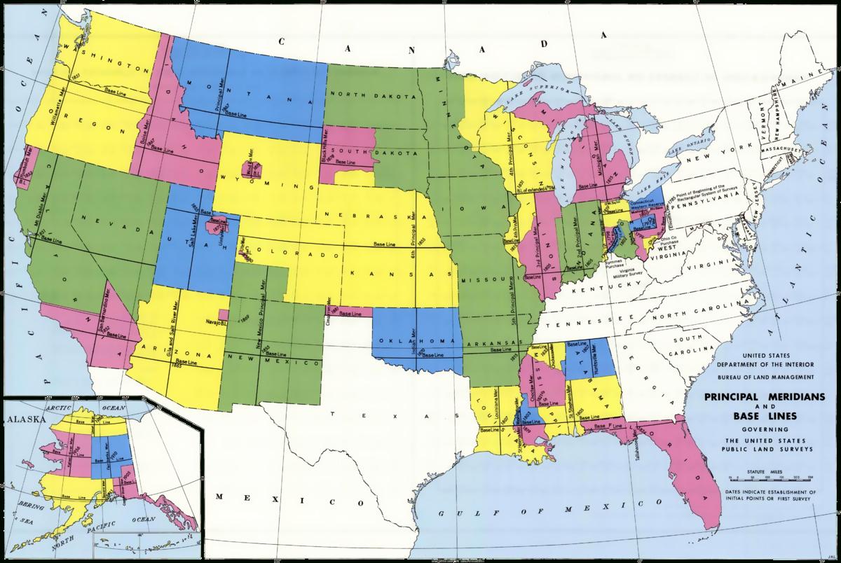 Public Land Survey System - Wikipedia - Blm Land Florida Map