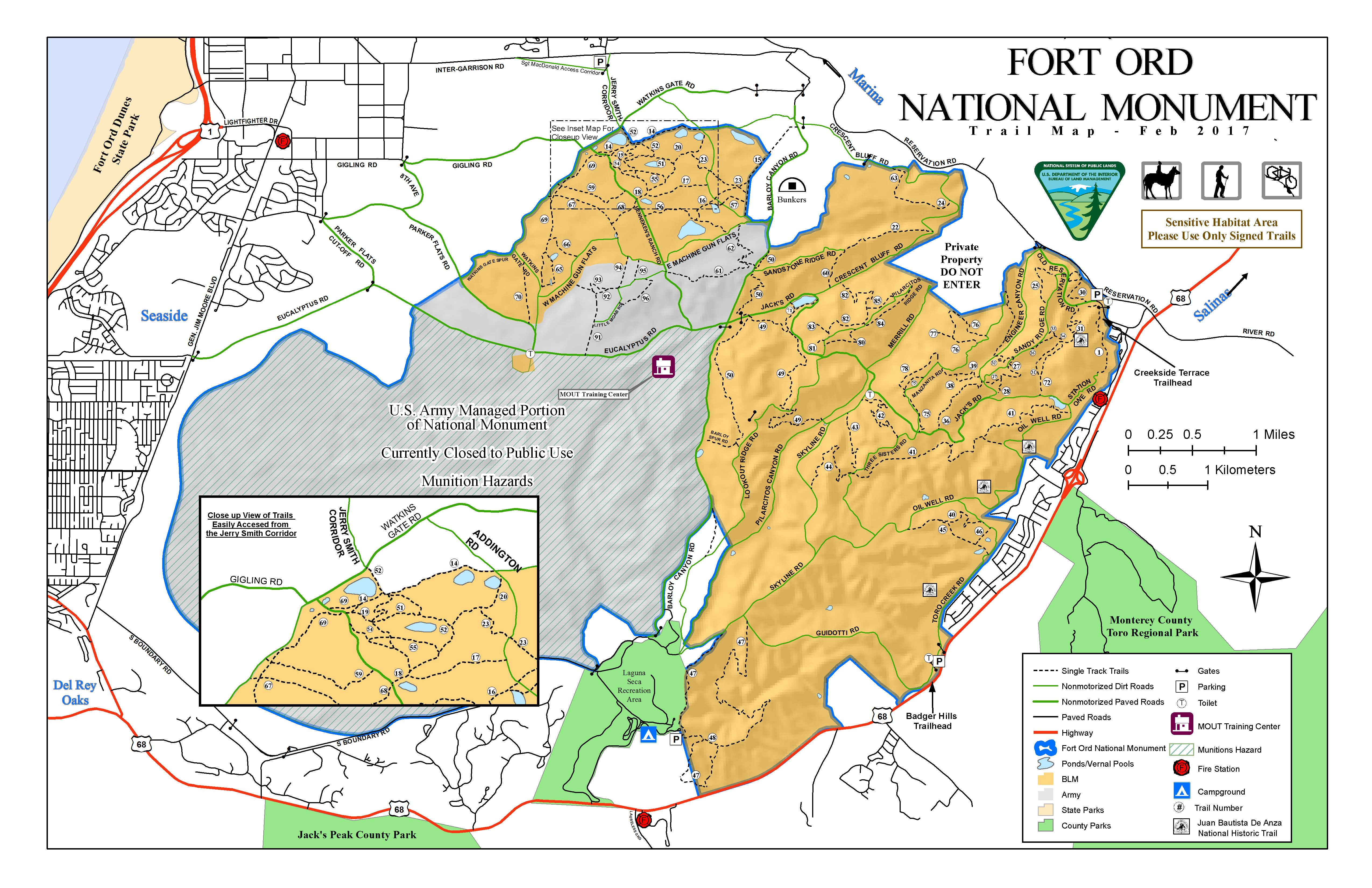 Public Room: California: Fort Ord National Monument Trail Map - Blm Map California