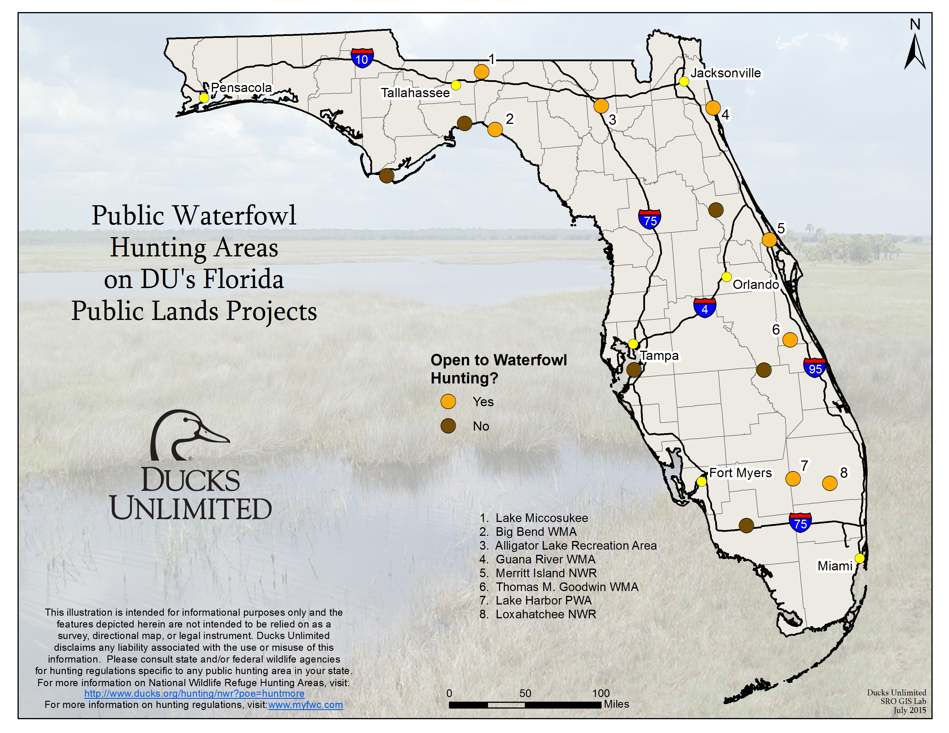 Public Waterfowl Hunting Areas On Du Public Lands Projects - Florida Public Hunting Map