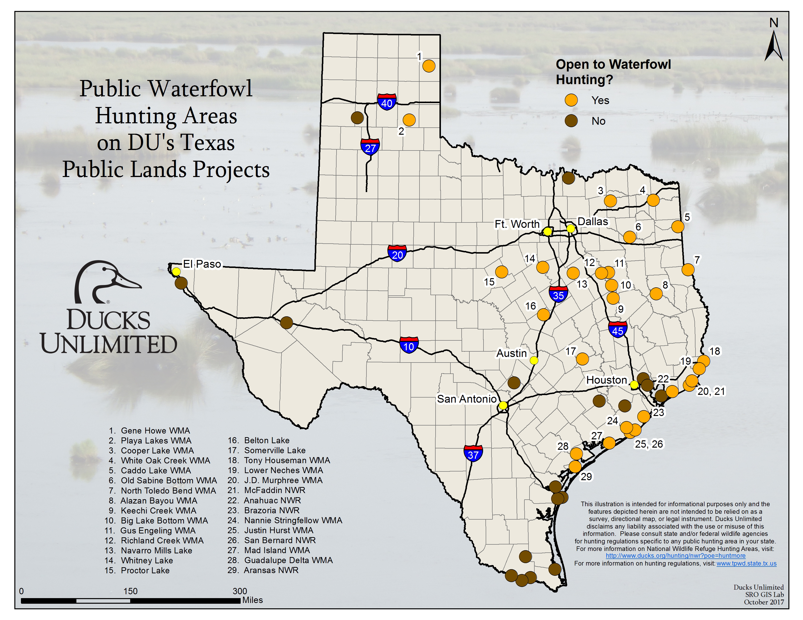 Public Waterfowl Hunting Areas On Du Public Lands Projects - Lands Of Texas Map