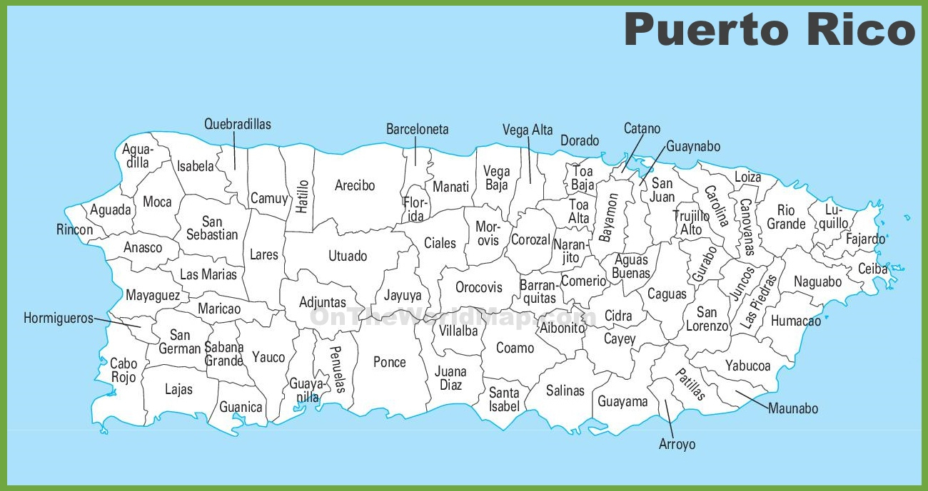 Puerto Rico Municipalities Map - Free Printable Map Of Puerto Rico