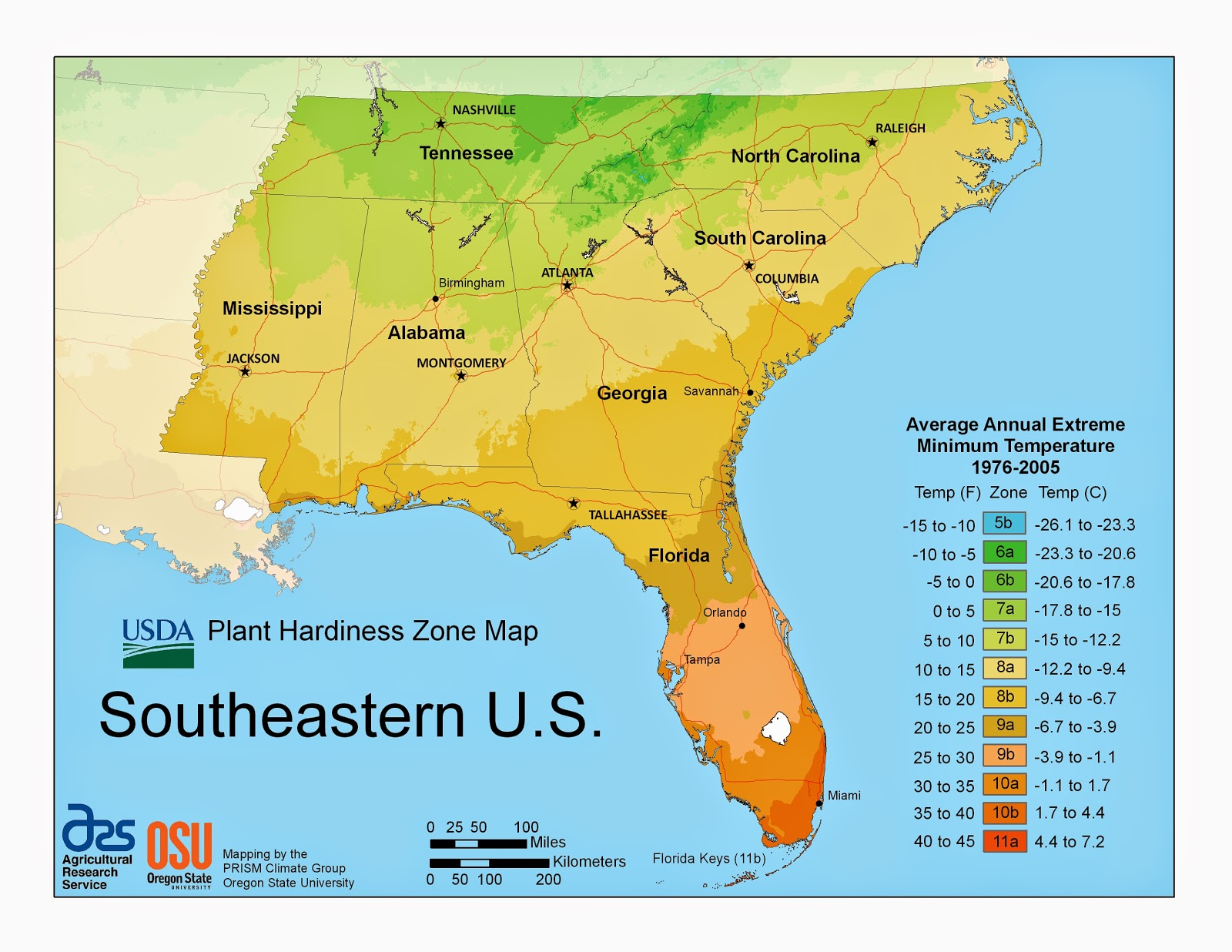 Purple Iris Perspective: Usda Plant Hardiness Zones - Regional Maps - Florida Growing Zones Map