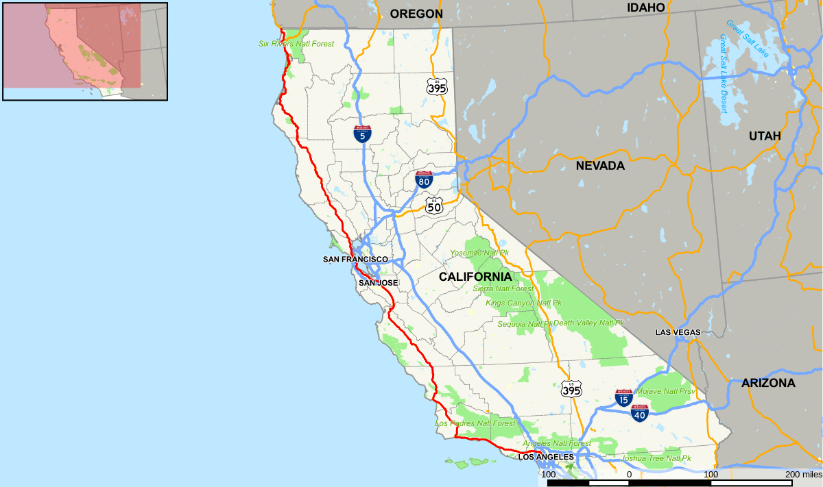 Px U S Route In California Map Svg Printable Maps California Traffic - California Traffic Conditions Map